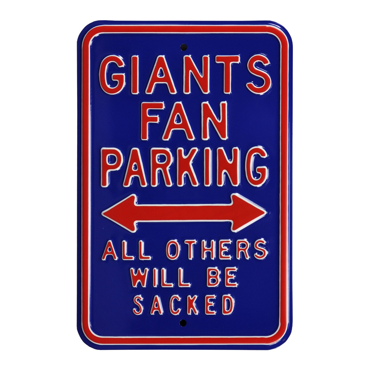 """New York Giants 12"""" x 18"""" Steel Parking Sign - Royal"""