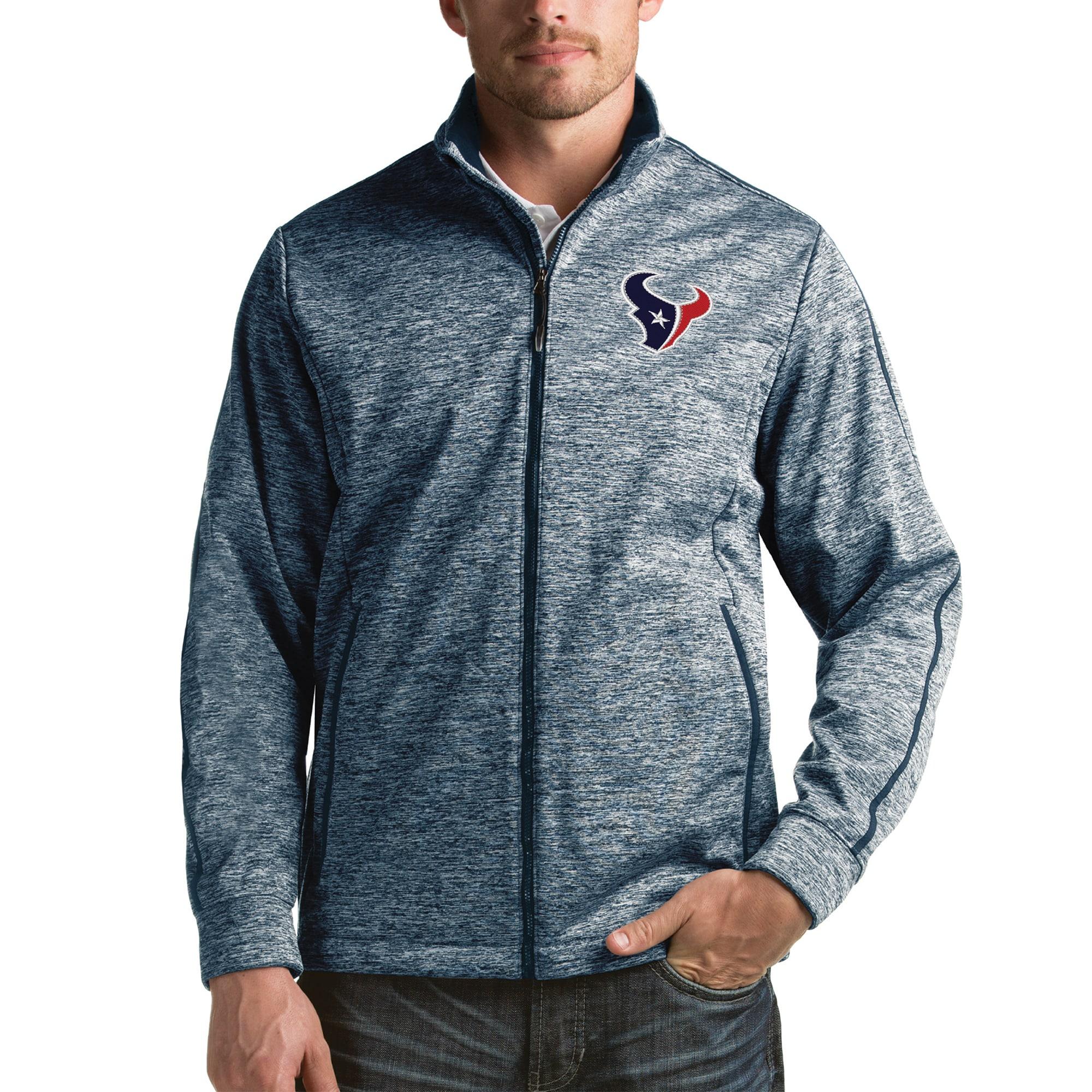 Houston Texans Antigua Full-Zip Golf Jacket - Heathered Navy