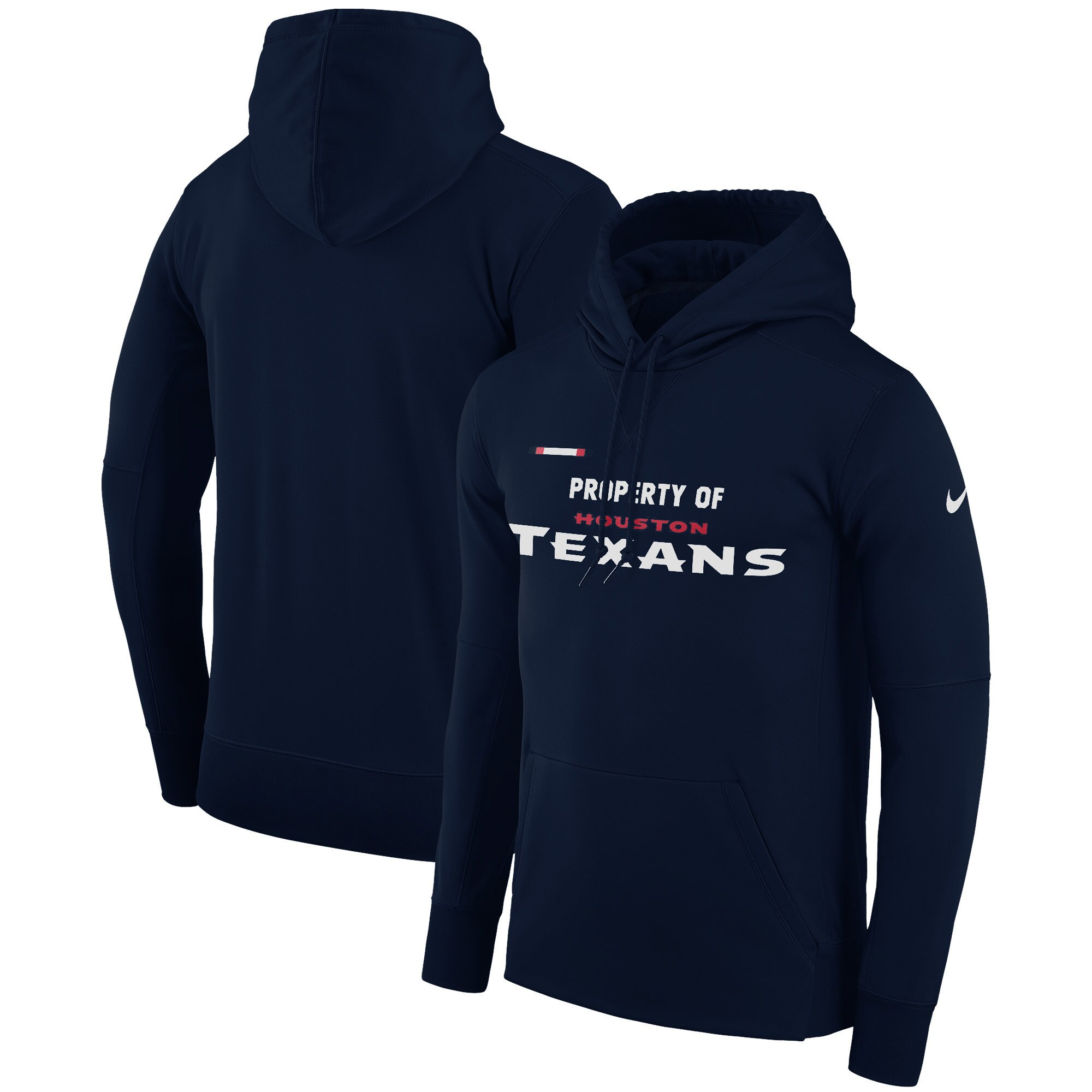 Houston Texans Nike Sideline Property Of Performance Pullover Hoodie - Navy