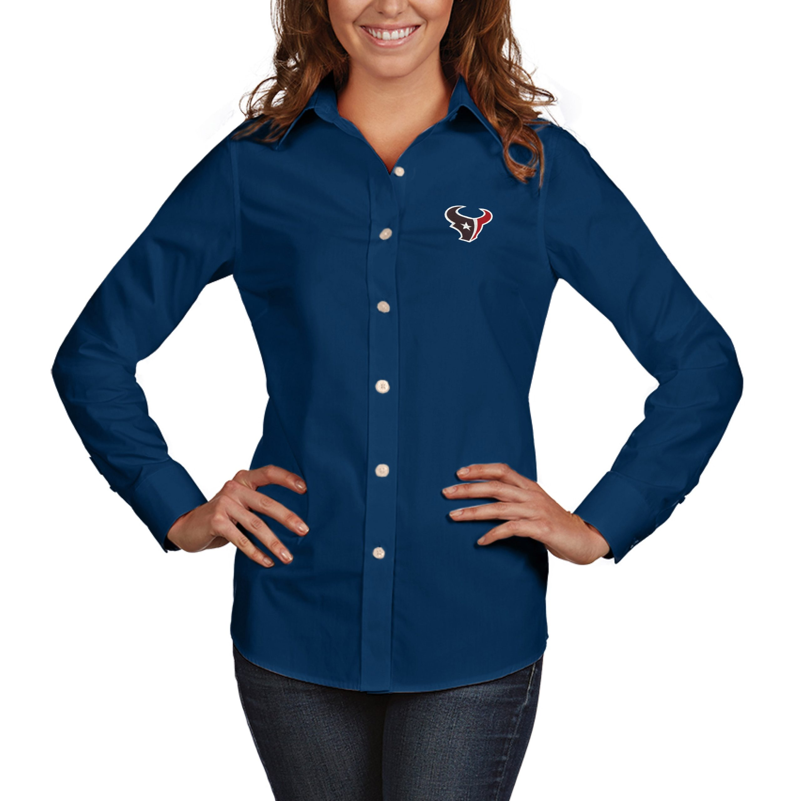Houston Texans Antigua Women's Dynasty Woven Button Up Long Sleeve Shirt - Navy