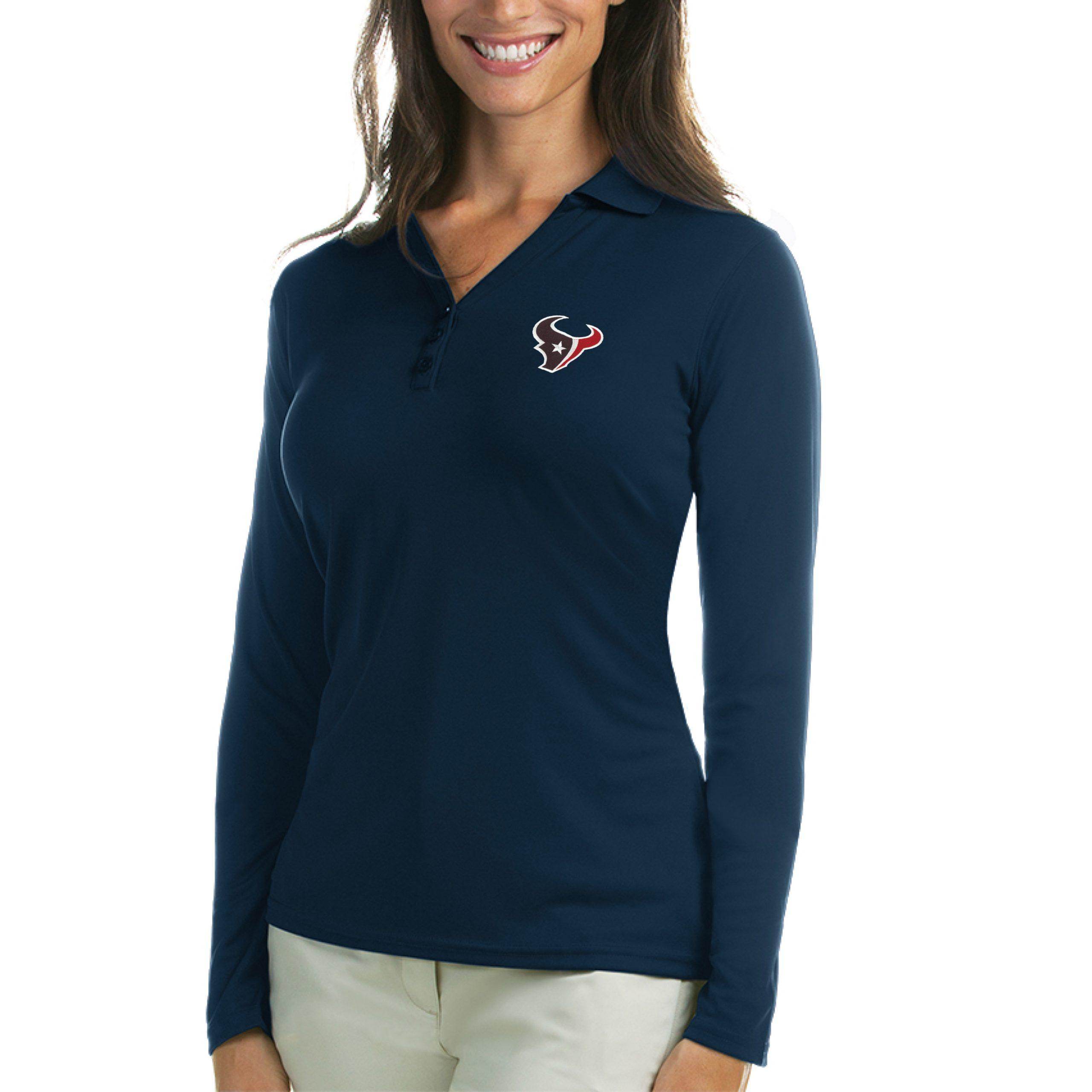 Houston Texans Antigua Women's Exceed Long Sleeve Polo - Navy