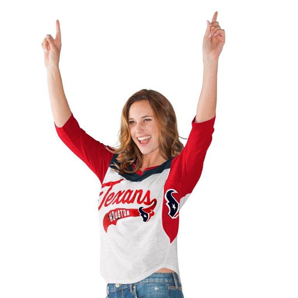 Houston Texans Hands High Women's Season Pass 3/4-Sleeve T-Shirt - White/Red