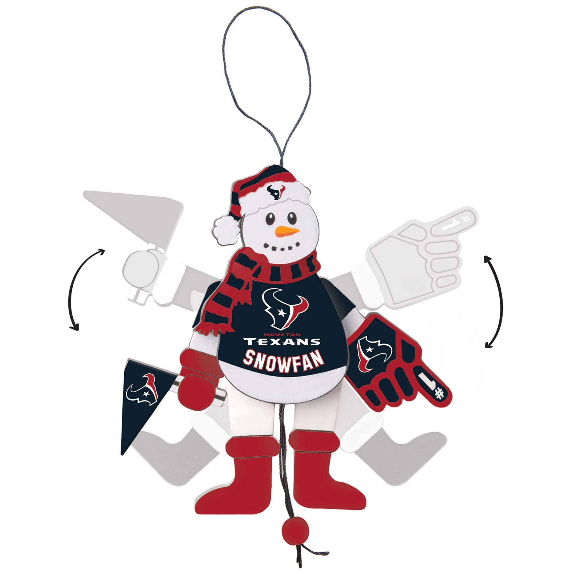 Houston Texans Wood Cheering Snowman Ornament