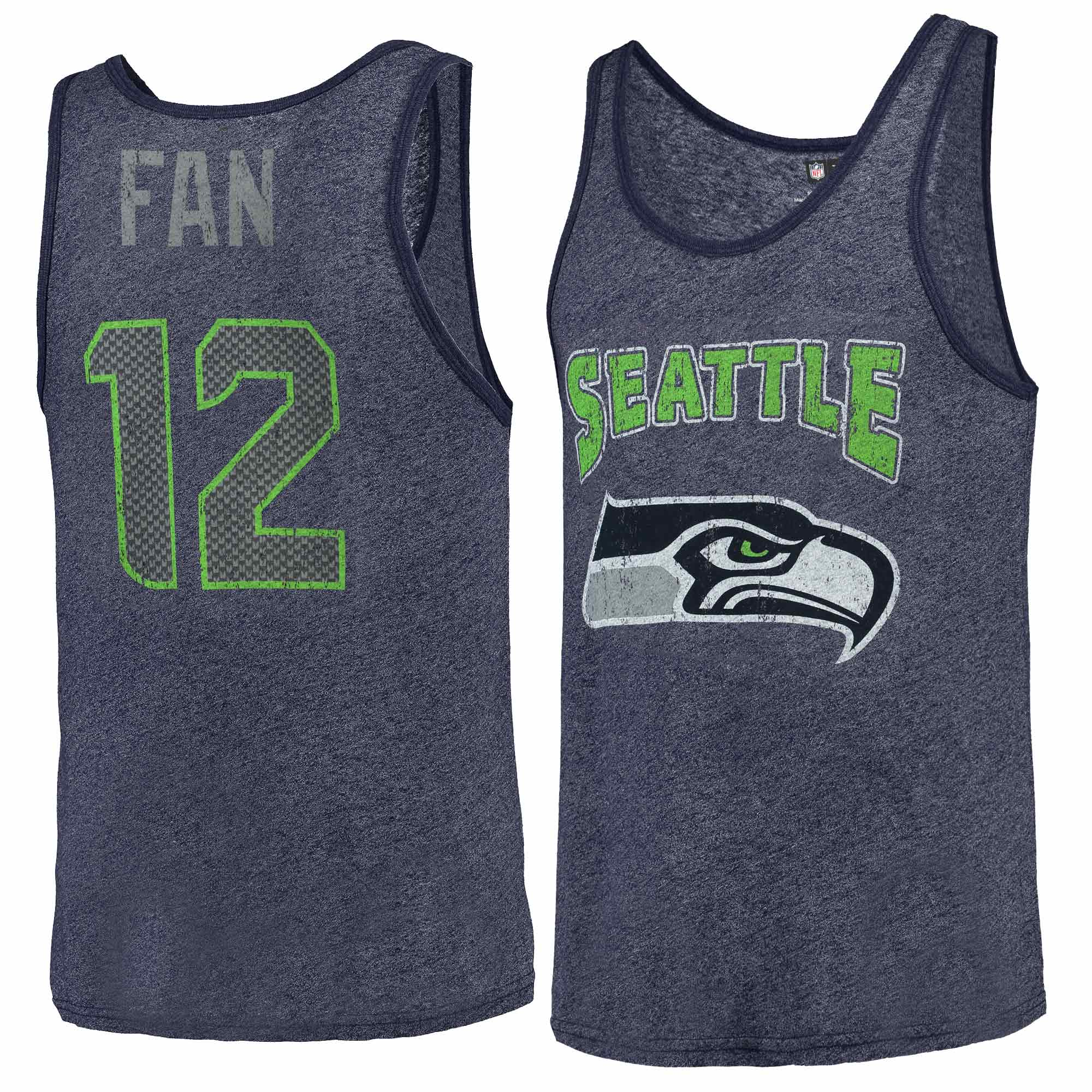 12s Seattle Seahawks Majestic Tri-Blend Wordmark Name & Number Tank Top - College Navy