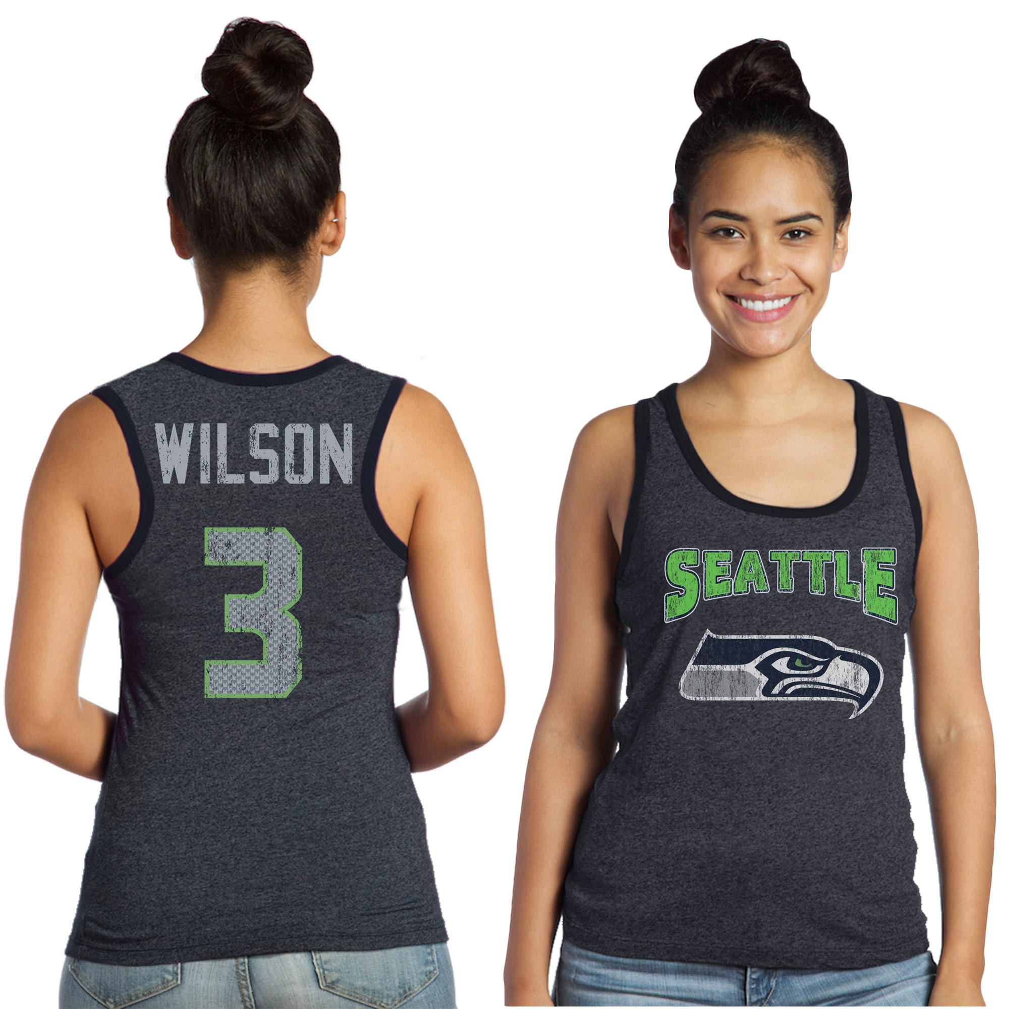 Russell Wilson Seattle Seahawks Majestic Women's Tri-Blend Wordmark Name & Number Tank Top - College Navy