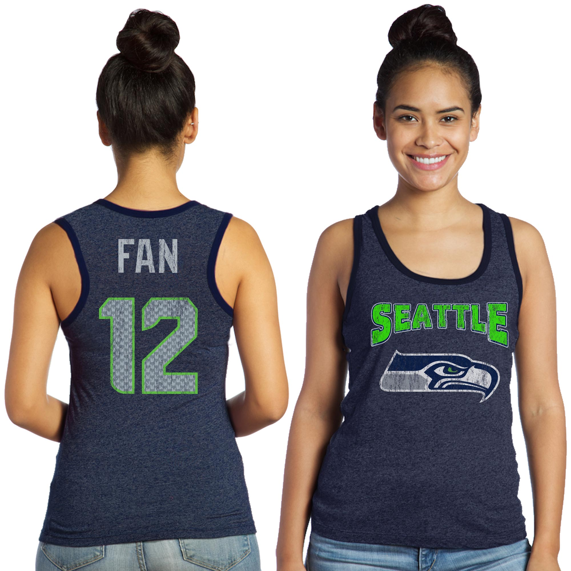 12s Seattle Seahawks Majestic Women's Tri-Blend Wordmark Name & Number Tank Top - College Navy