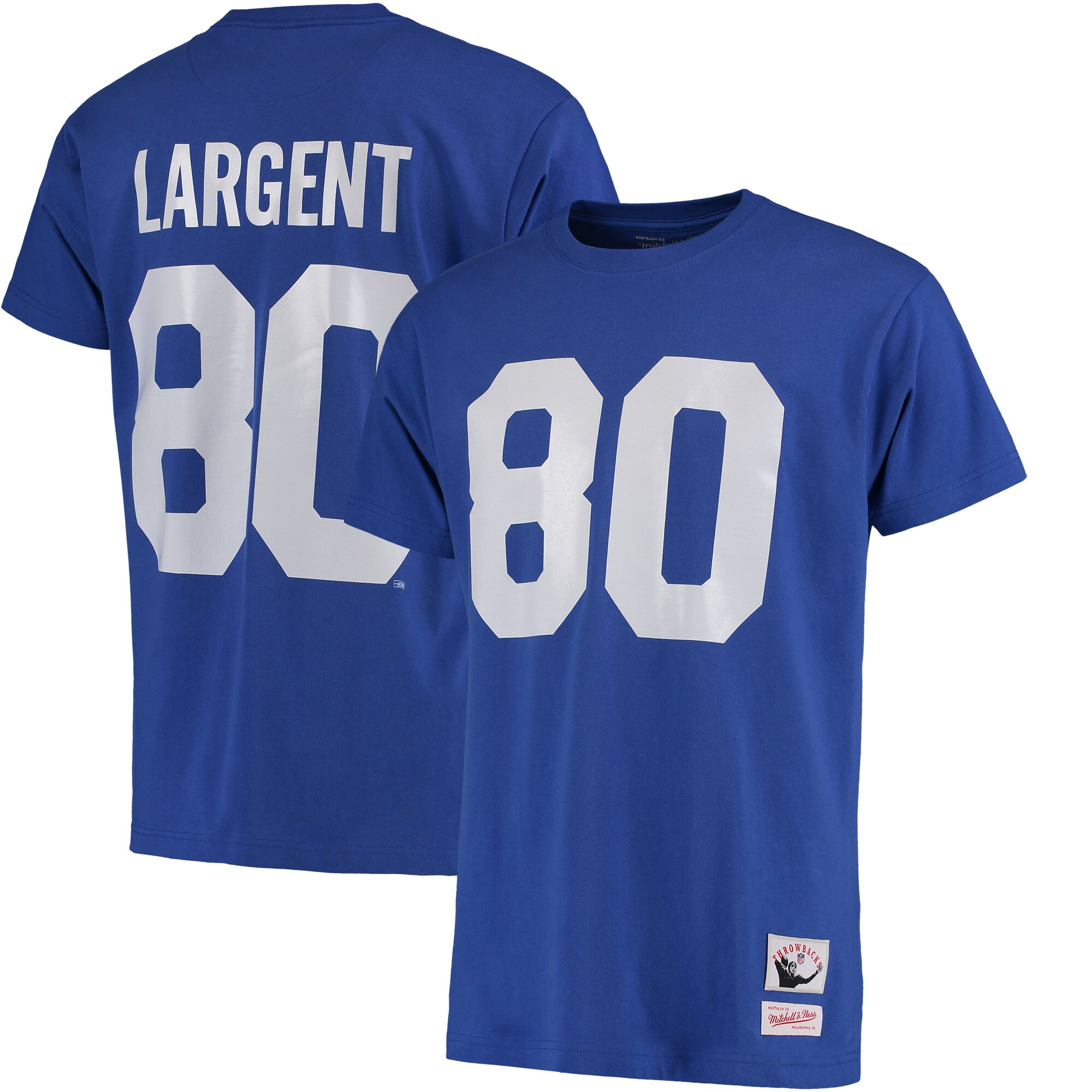 Steve Largent Seattle Seahawks Mitchell & Ness Name & Number Throwback T-Shirt - Blue