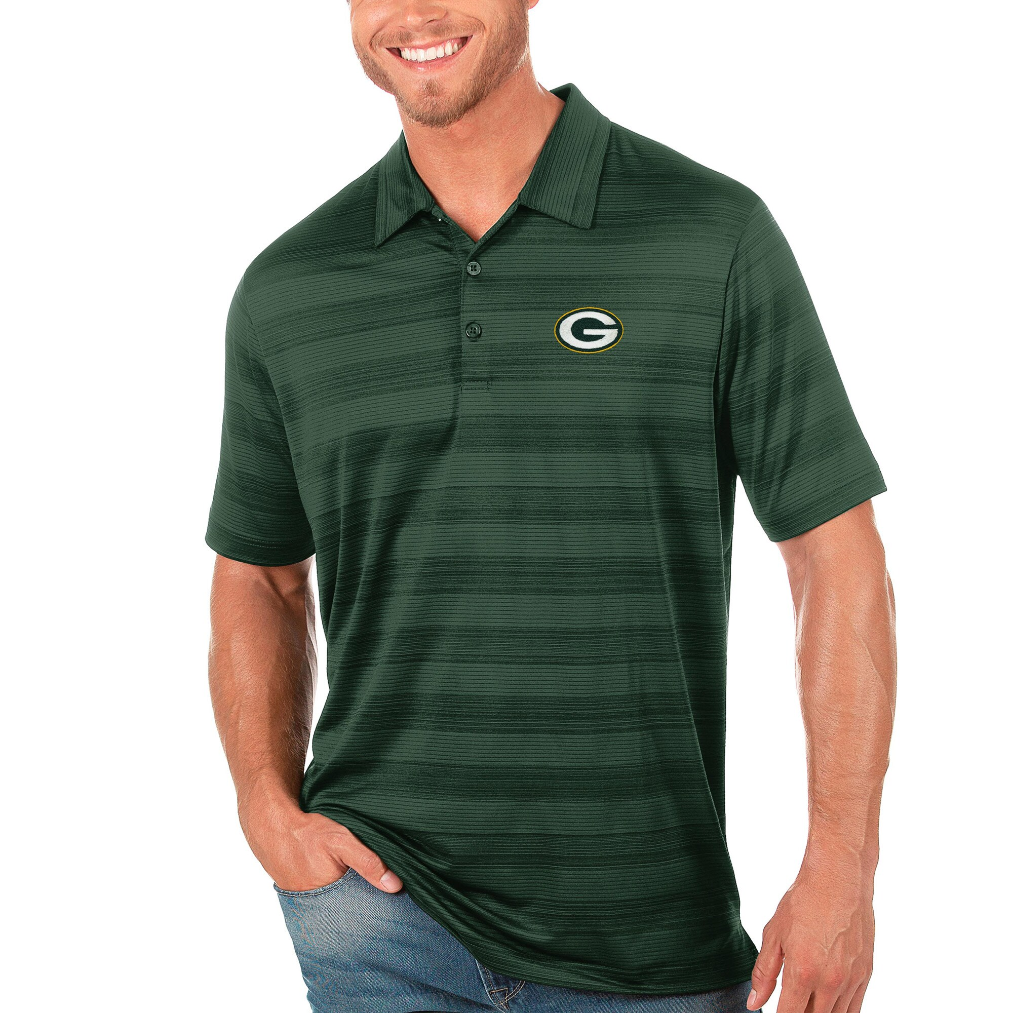 Green Bay Packers Antigua Compass Polo - Green