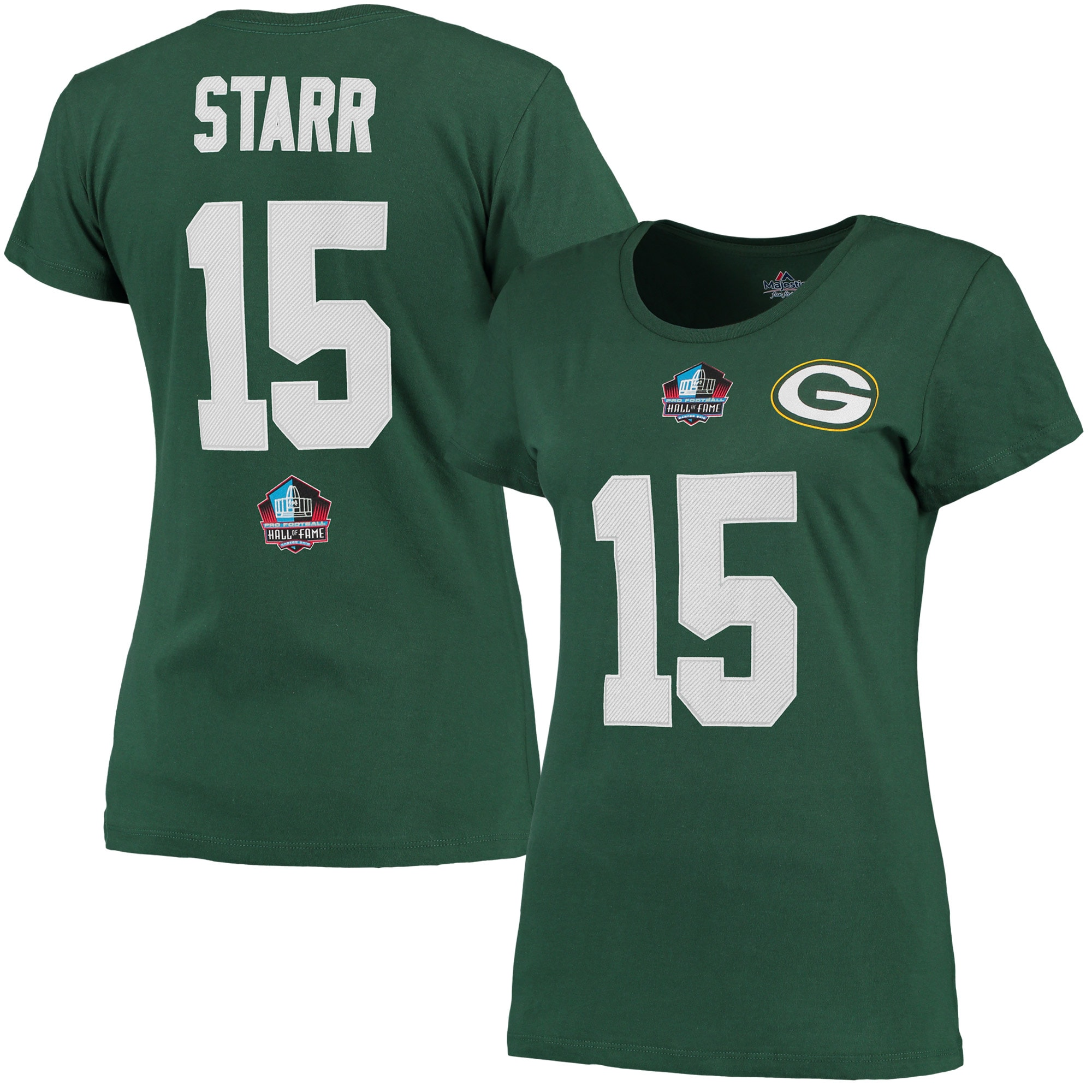 Bart Starr Green Bay Packers Majestic Women's Hall of Fame Fair Catch V T-Shirt - Green