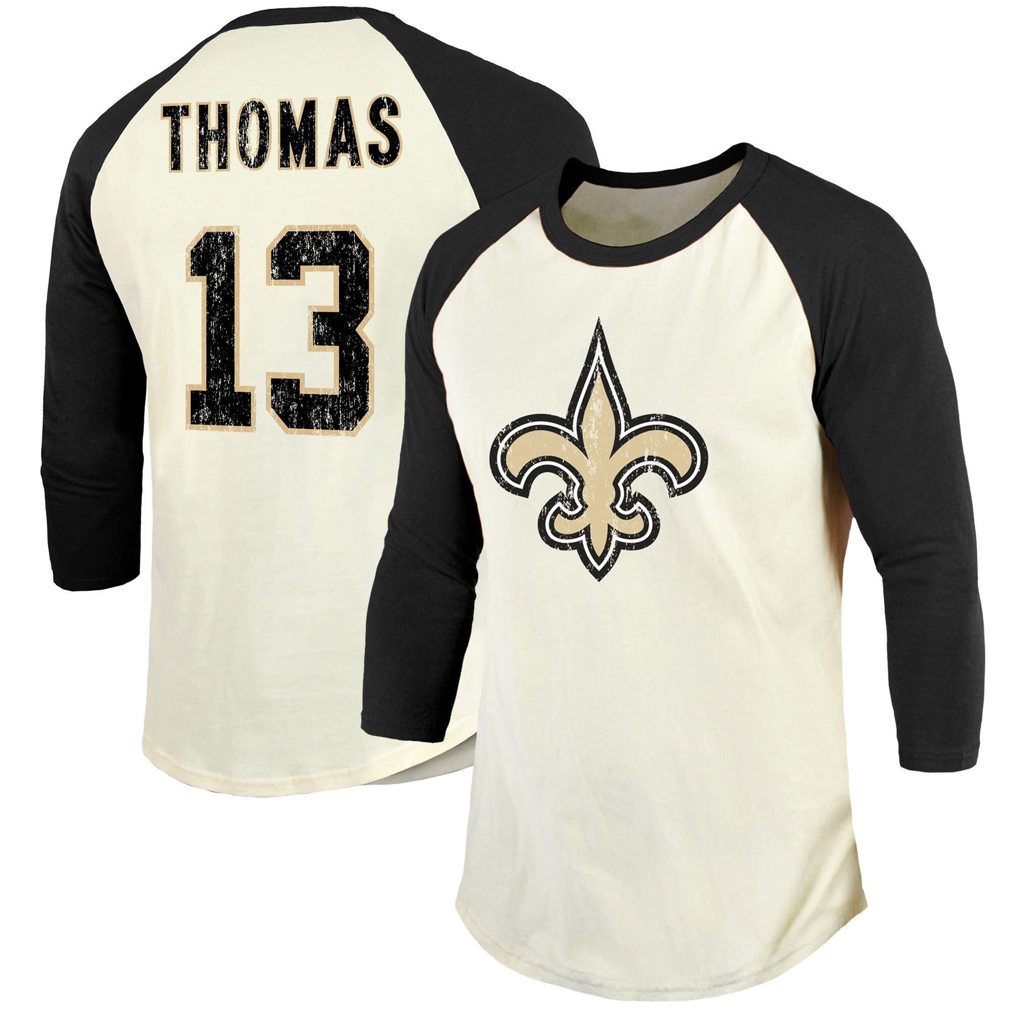 Michael Thomas New Orleans Saints Fanatics Branded Vintage Player Name & Number Raglan 3/4-Sleeve T-Shirt - Cream/Black