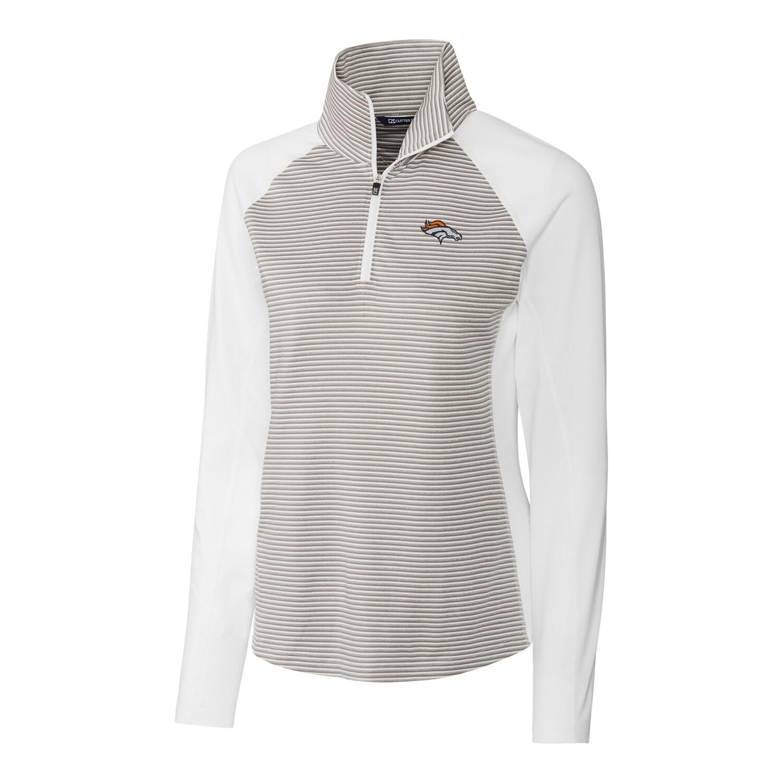 Denver Broncos Cutter & Buck Women's Forge Tonal Stripe Half-Zip Pullover Jacket - White
