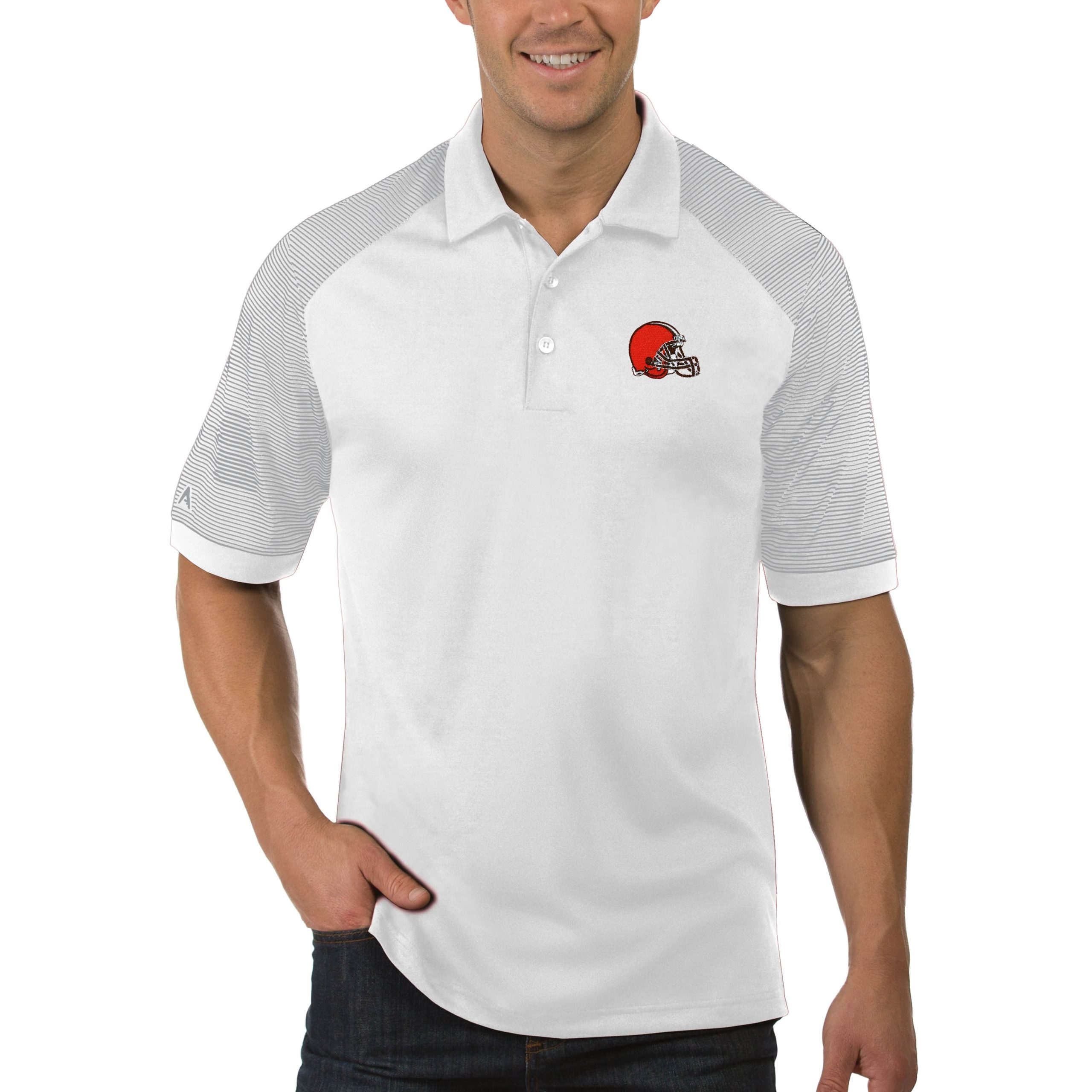 Cleveland Browns Antigua Engage Big & Tall Polo - White