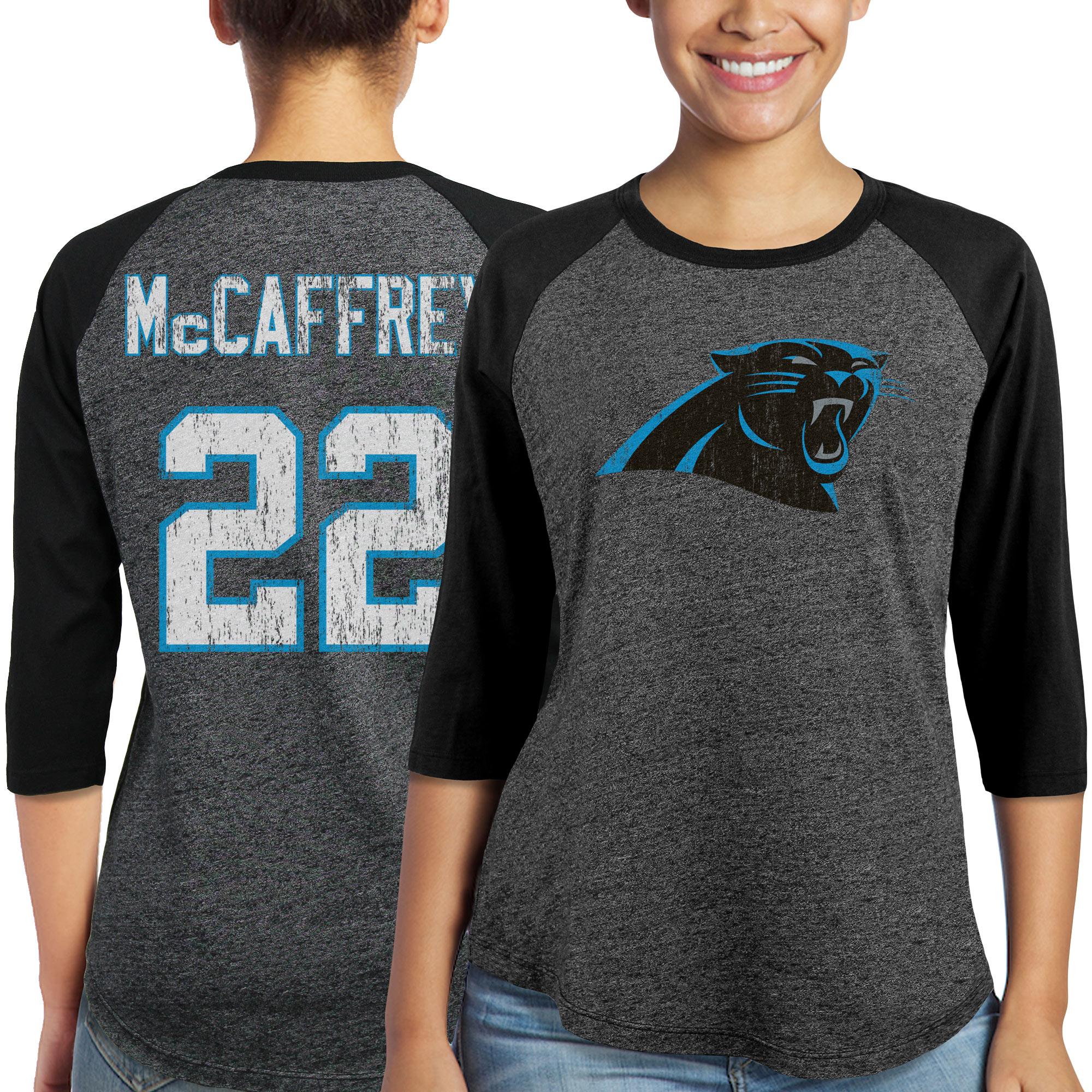 Christian McCaffrey Carolina Panthers Majestic Women's Player Name & Number Tri-Blend 3/4-Sleeve Raglan T-Shirt - Black