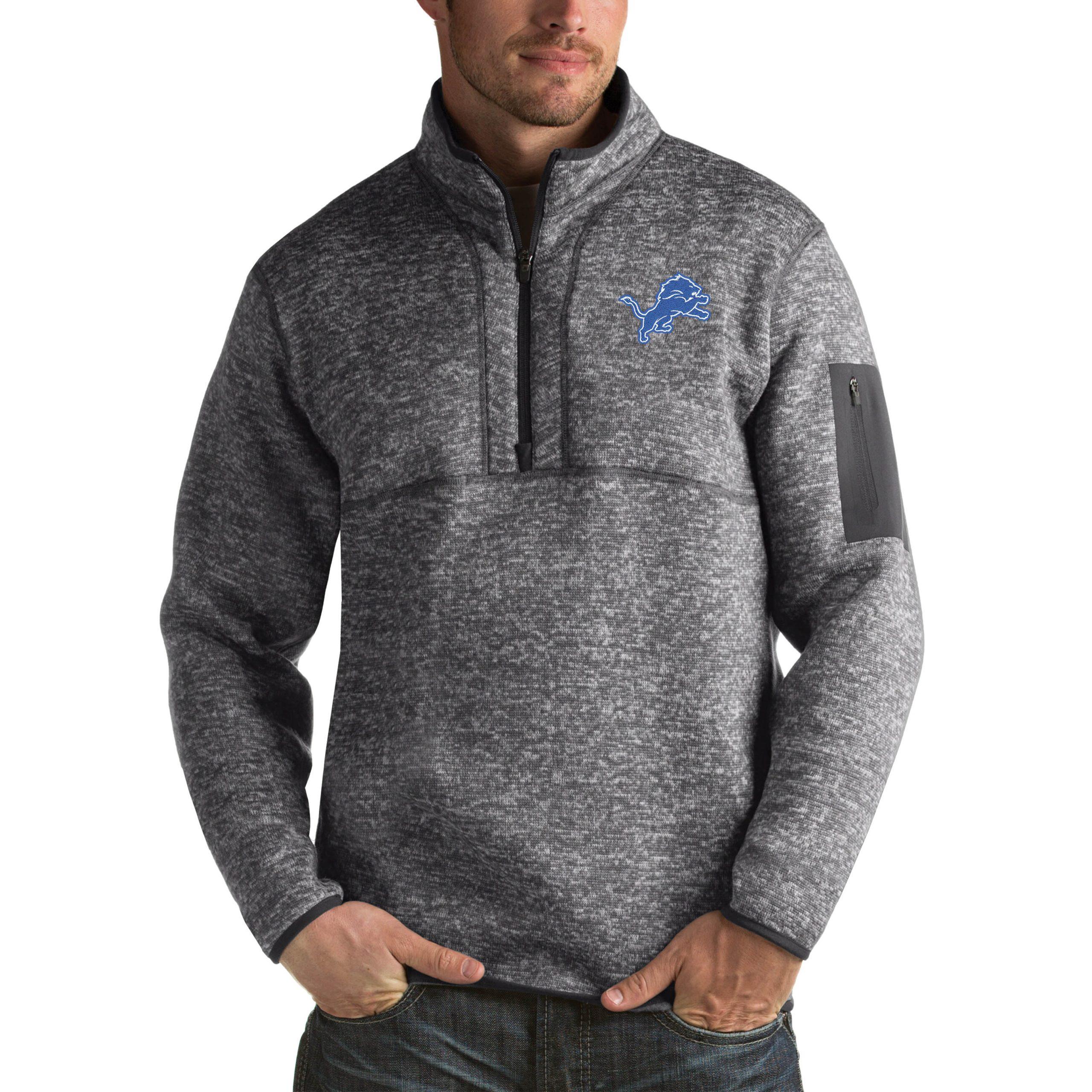 Detroit Lions Antigua Fortune Big & Tall Quarter-Zip Pullover Jacket - Charcoal