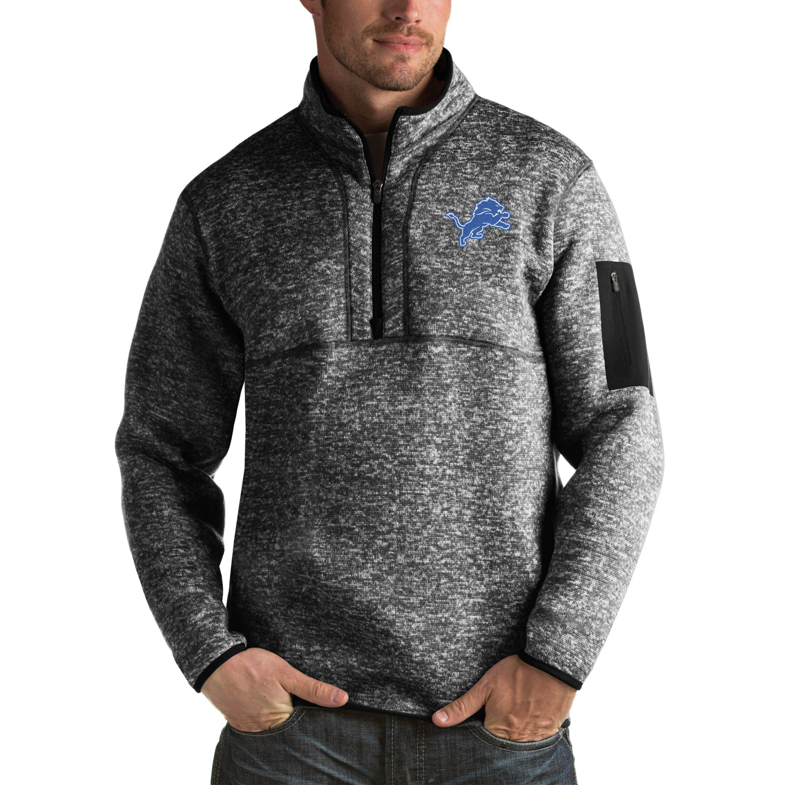 Detroit Lions Antigua Fortune Big & Tall Quarter-Zip Pullover Jacket - Heather Black