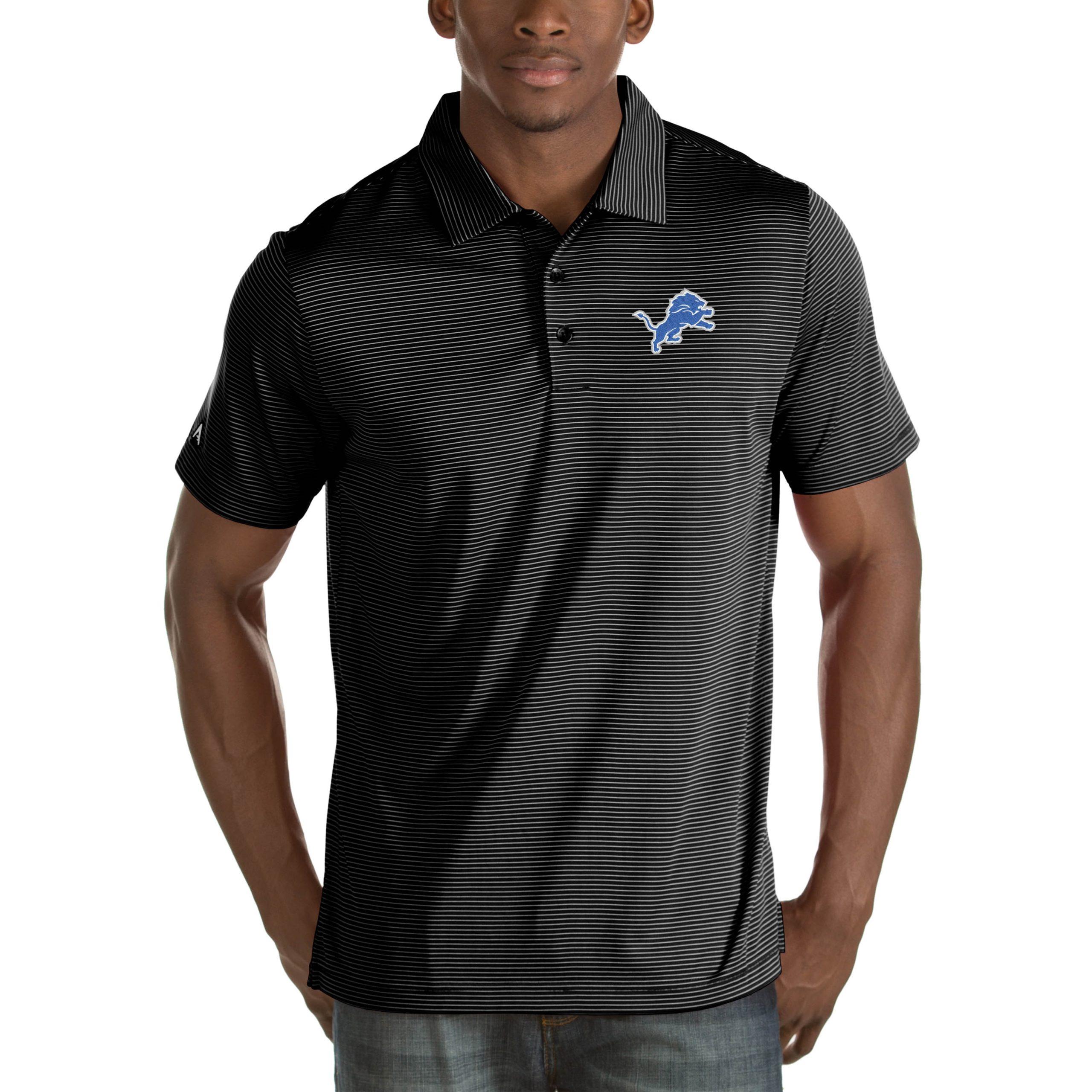 Detroit Lions Antigua Quest Big & Tall Polo - Black