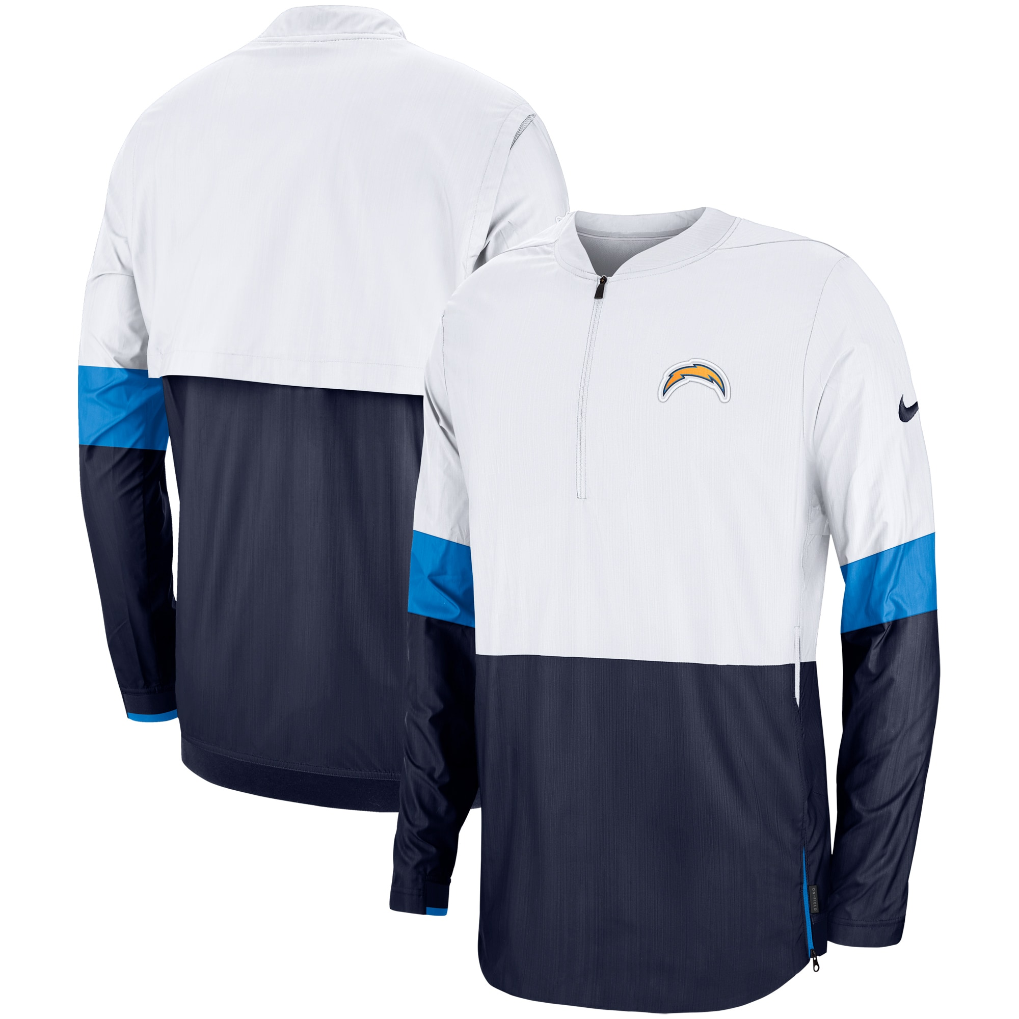 Los Angeles Chargers Nike Sideline Coaches Half-Zip Pullover Jacket - White/Navy