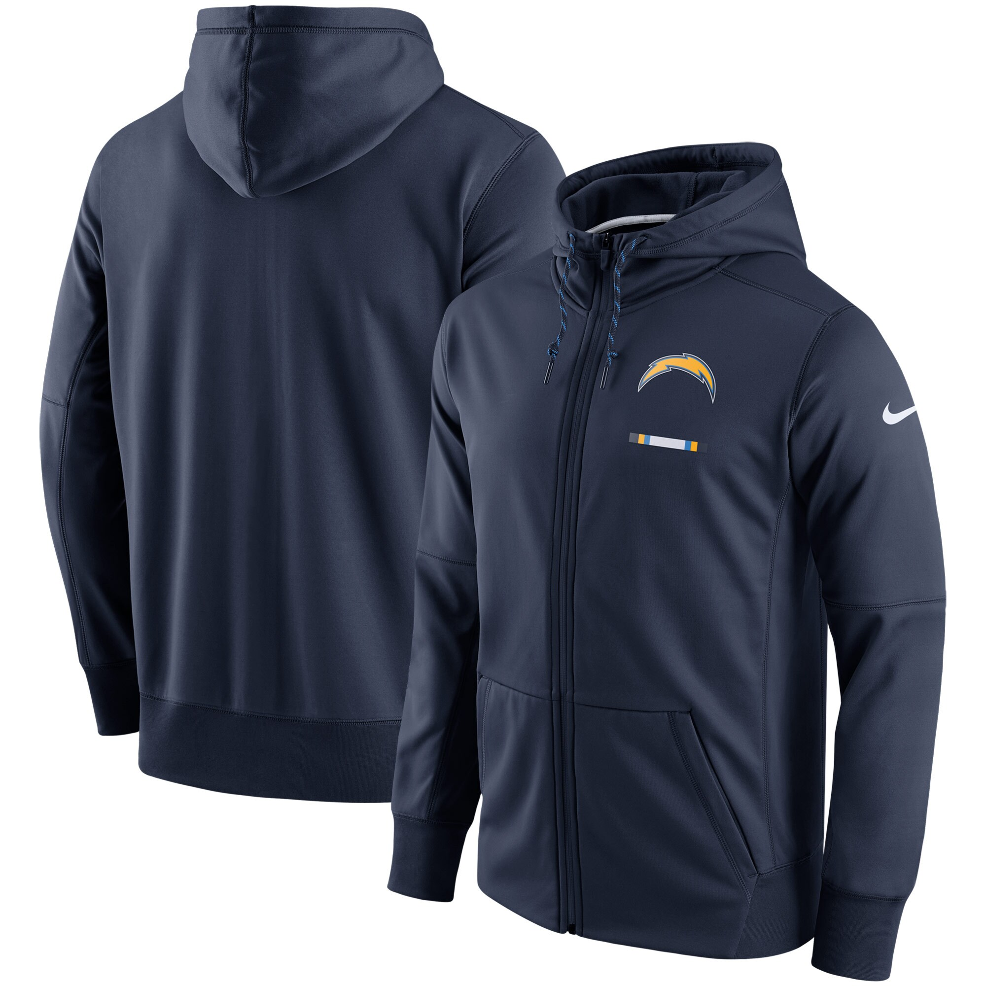 Los Angeles Chargers Nike Sideline Logo Performance Full-Zip Hoodie - Navy