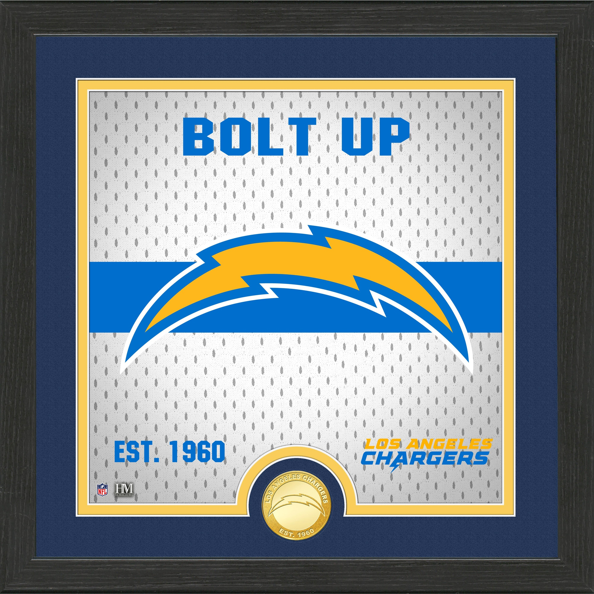 Los Angeles Chargers Highland Mint 13'' x 13'' Battle Cry Bronze Coin Photo Mint