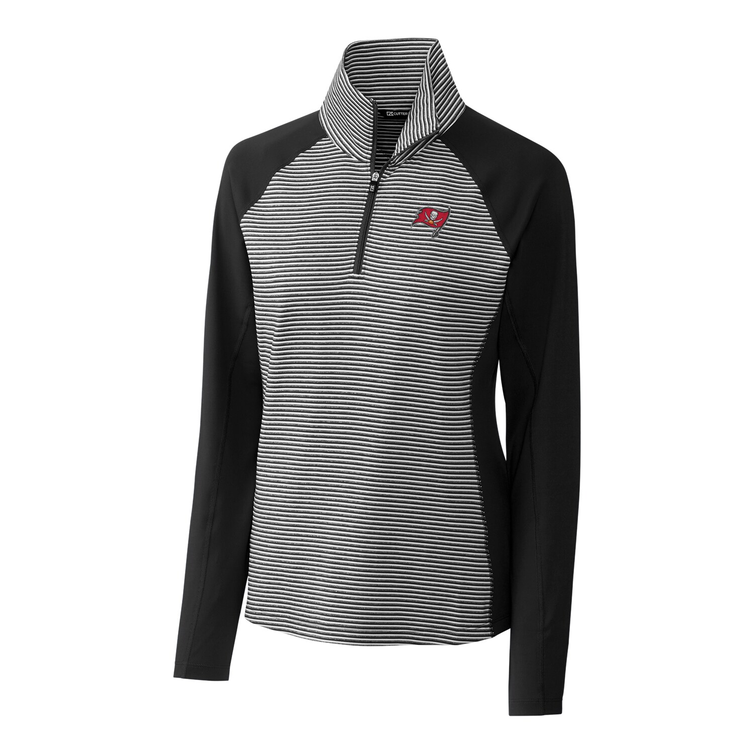 Tampa Bay Buccaneers Cutter & Buck Women's Forge Tonal Stripe Half-Zip Pullover Jacket - Black