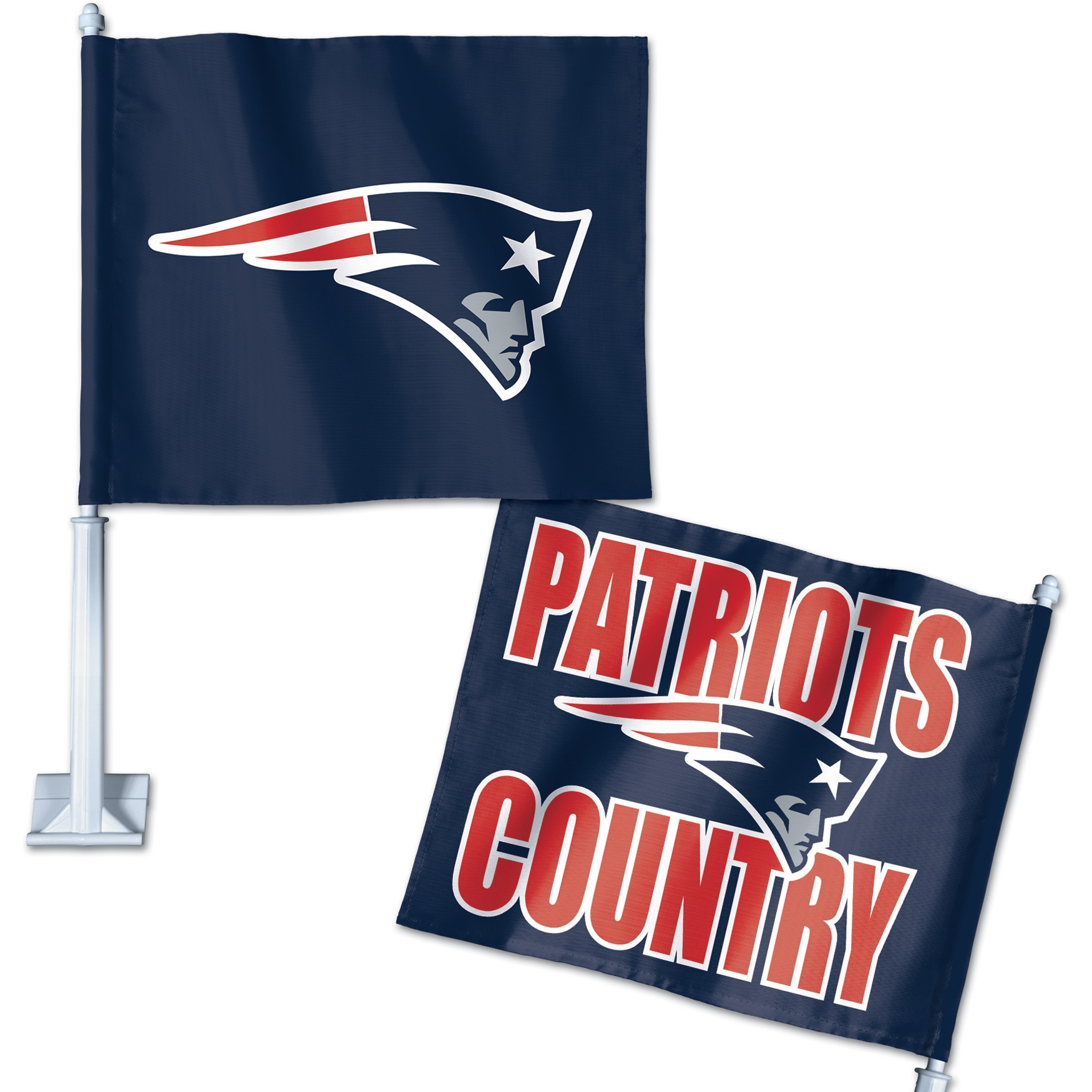 New England Patriots WinCraft Double-Sided Slogan Car Flag