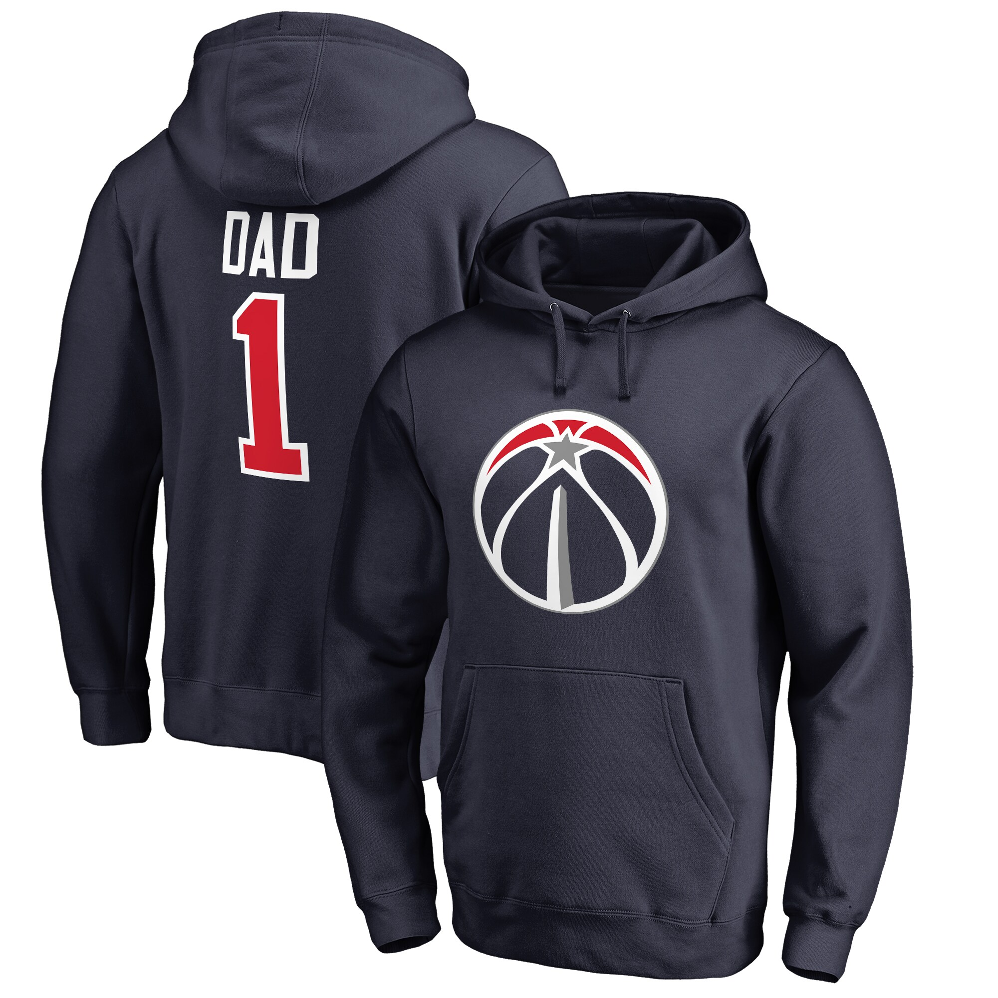 Washington Wizards Fanatics Branded Big & Tall #1 Dad Pullover Hoodie - Navy