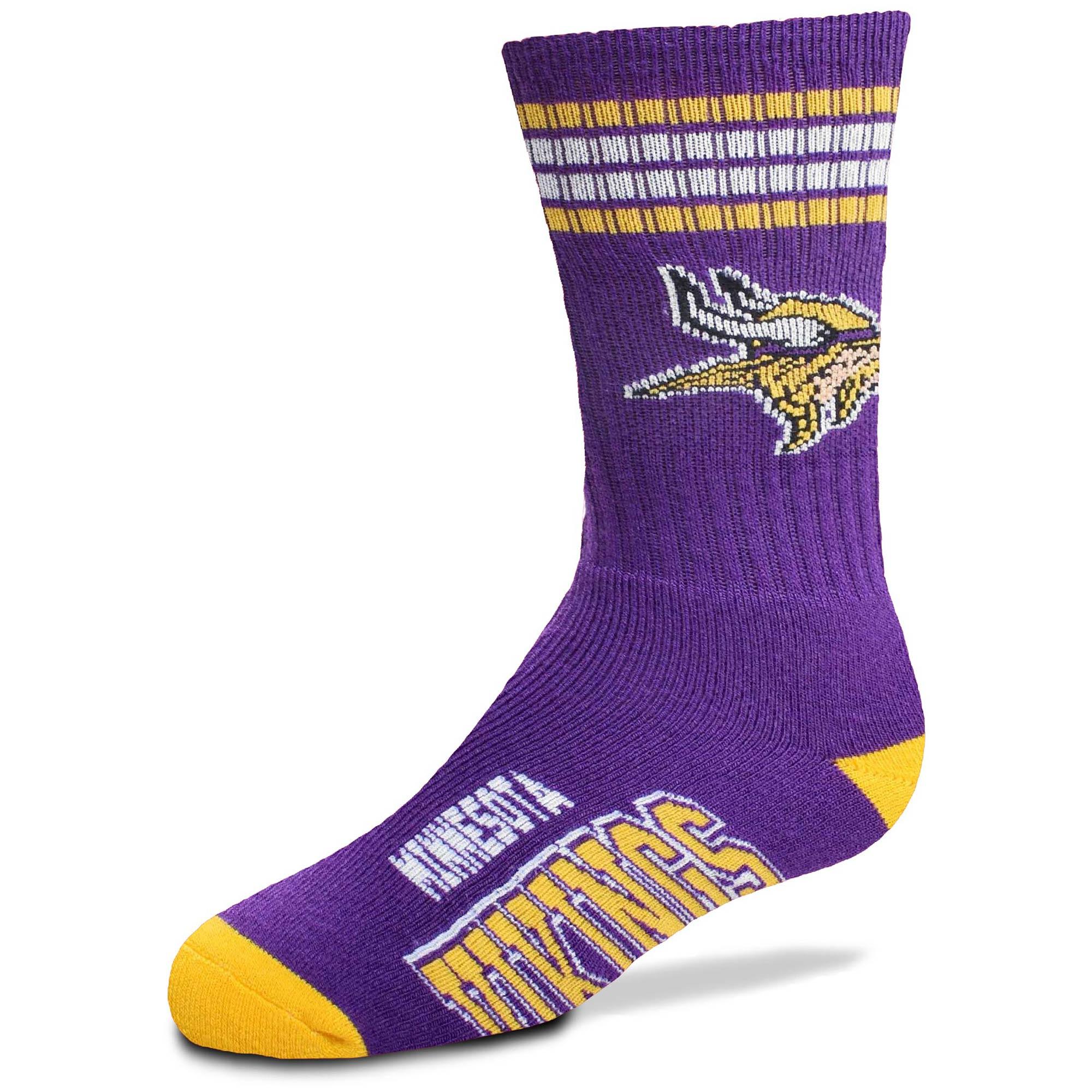Minnesota Vikings For Bare Feet Youth Four-Stripe Deuce Quarter-Length Socks