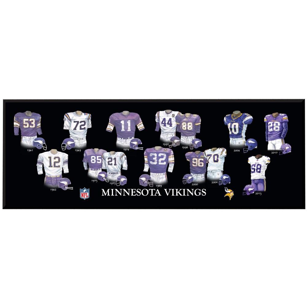 Minnesota Vikings 8'' x 24'' Uniform Evolution Plaque