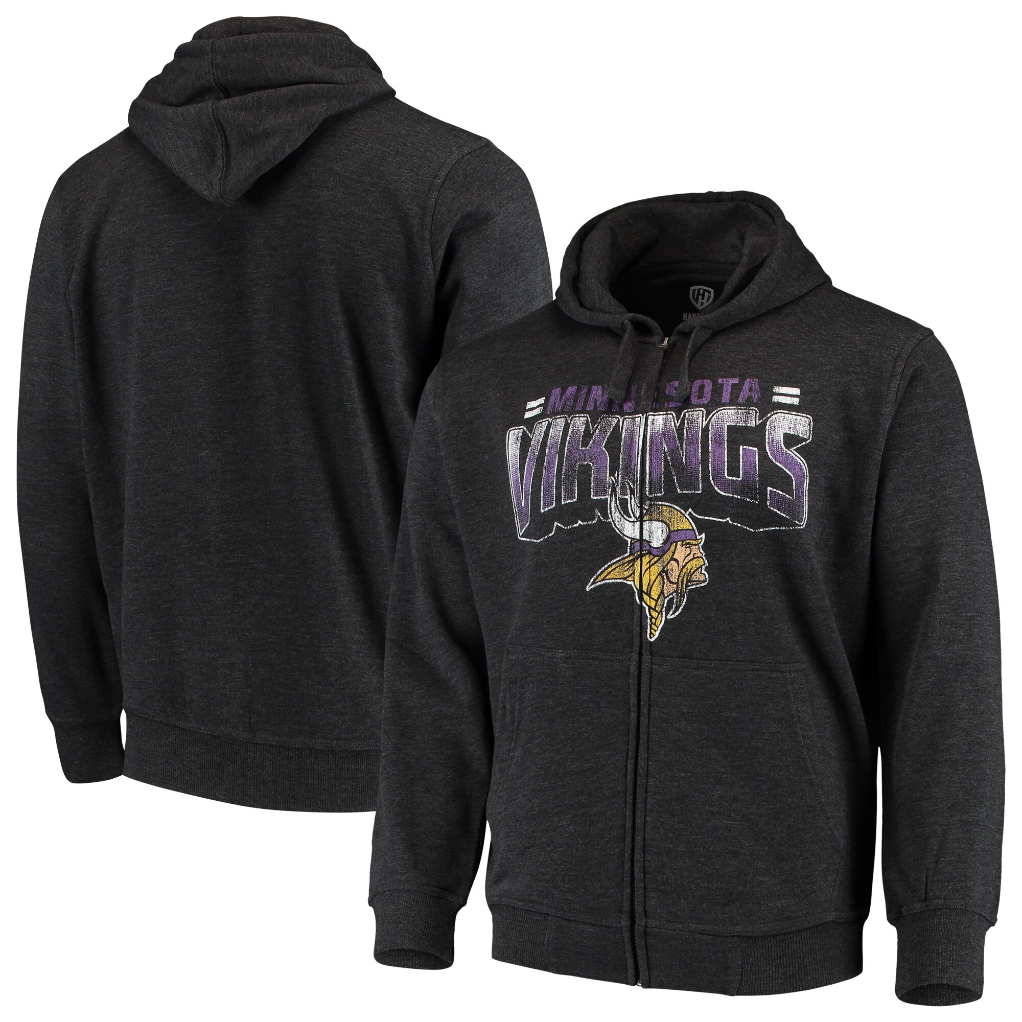 Minnesota Vikings G-III Sports by Carl Banks Perfect Season Full-Zip Hoodie - Charcoal