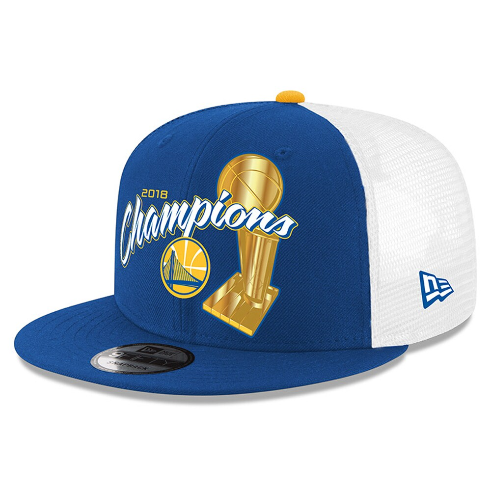 Golden State Warriors New Era 2018 NBA Finals Champions Trophy Trucker 9FIFTY Snapback Adjustable Hat - Royal