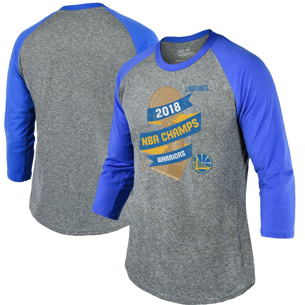 Golden State Warriors Majestic Threads 2018 NBA Finals Champions Trophy Gameday Tri-Blend 3/4-Sleeve Raglan T-Shirt - Heather Gray/Royal