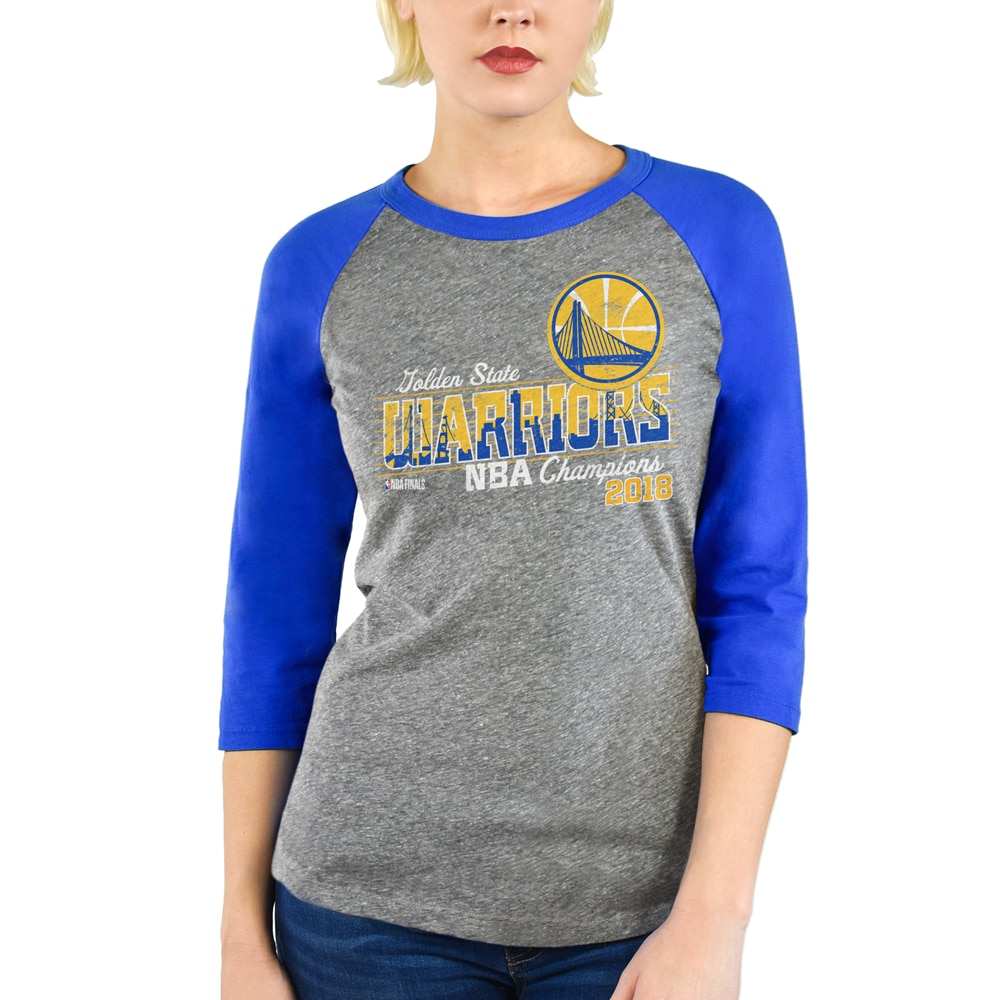 Golden State Warriors Majestic Threads Women's 2018 NBA Finals Champions Burnout 3/4-Sleeve Raglan T-Shirt - Heather Gray/Royal