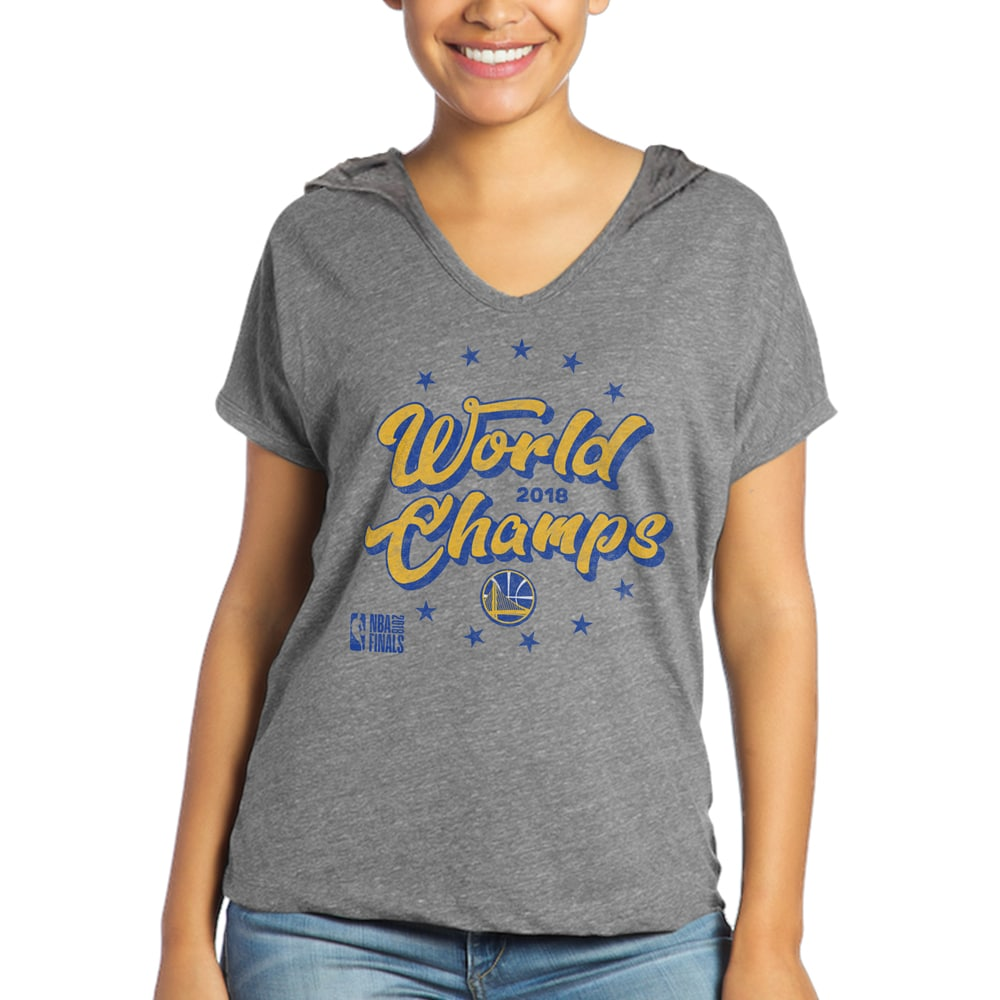 Golden State Warriors Majestic Threads Women's 2018 NBA Finals Champions Celebration Tri-Blend Short Sleeve Pullover Hoodie - Heather Gray