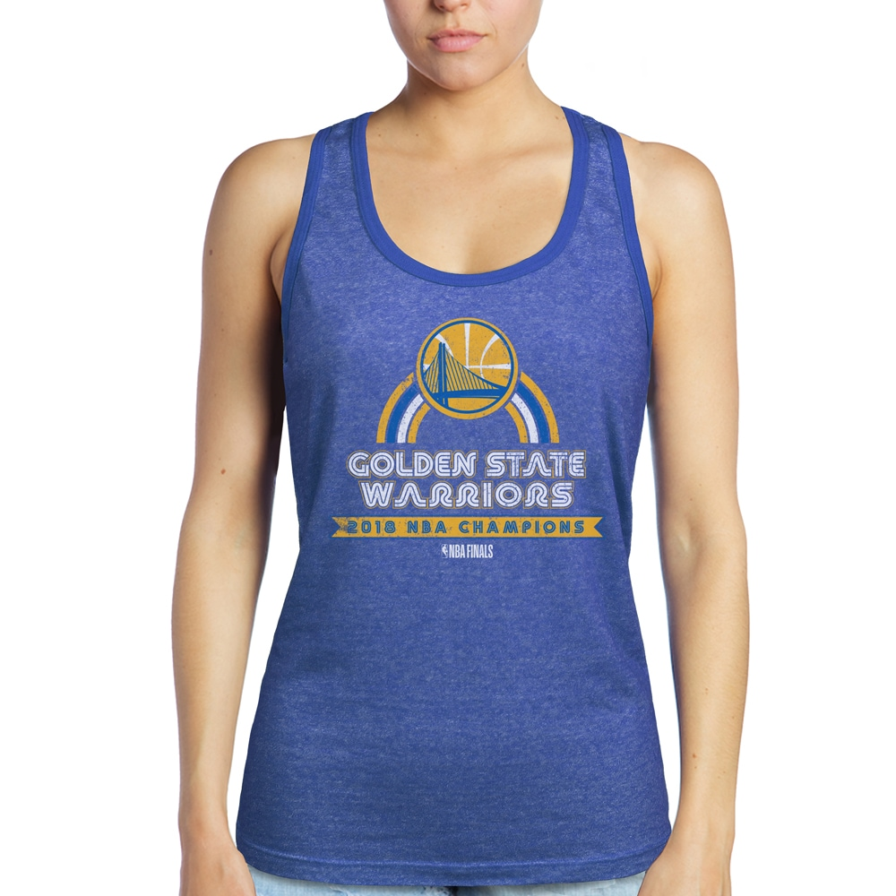 Golden State Warriors Majestic Threads Women's 2018 NBA Finals Champions Contrast Tri-Blend Racerback Tank Top - Royal