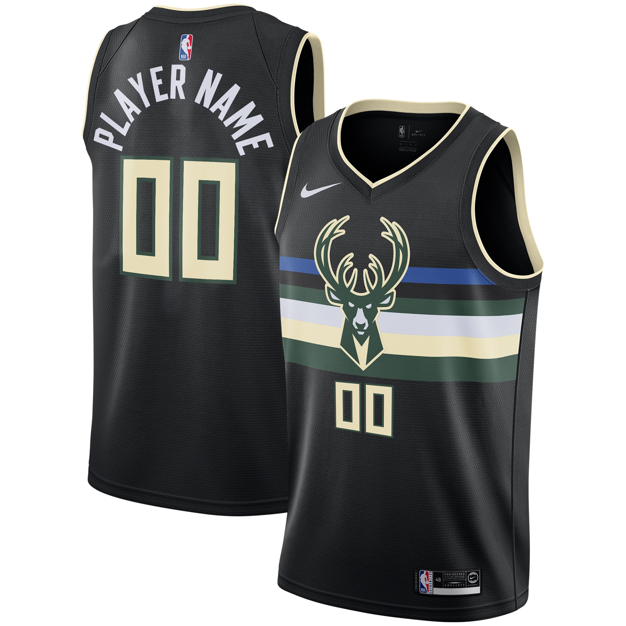 Milwaukee Bucks Nike 2019/20 Custom Swingman Jersey Black - Statement Edition
