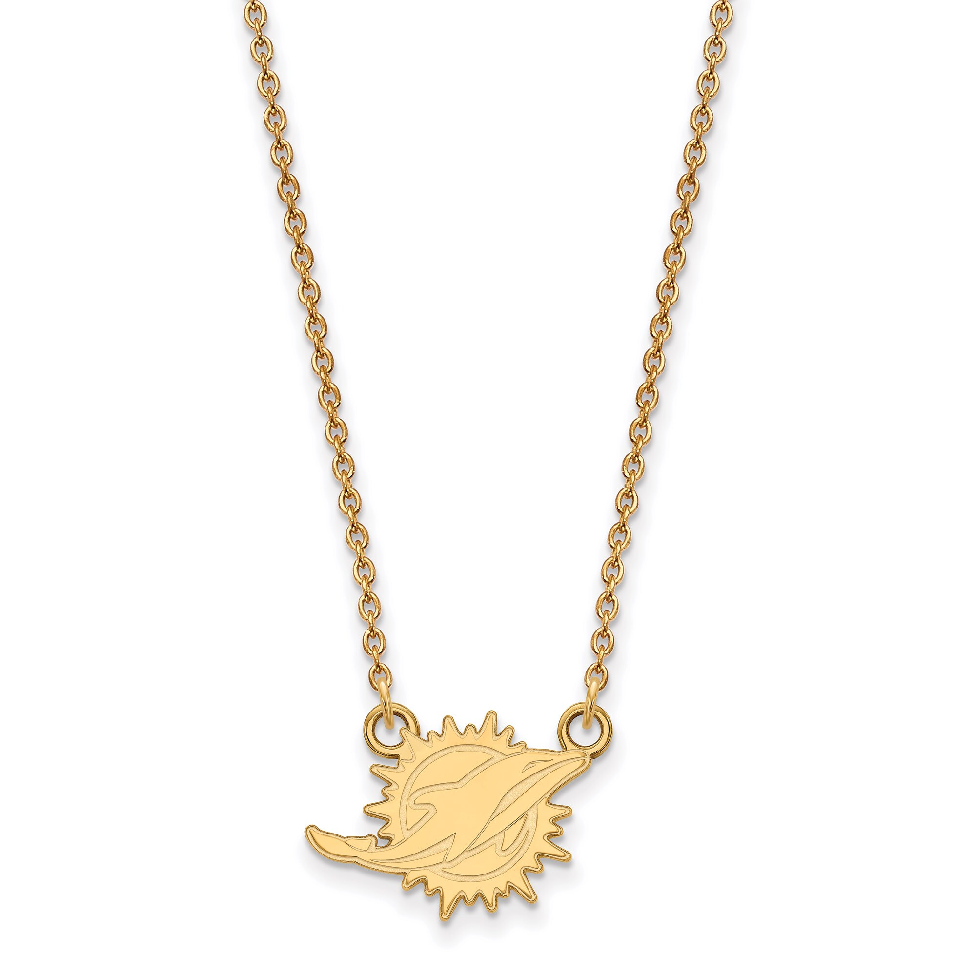 Miami Dolphins Gold-Plated Small Logo Split Chain Necklace