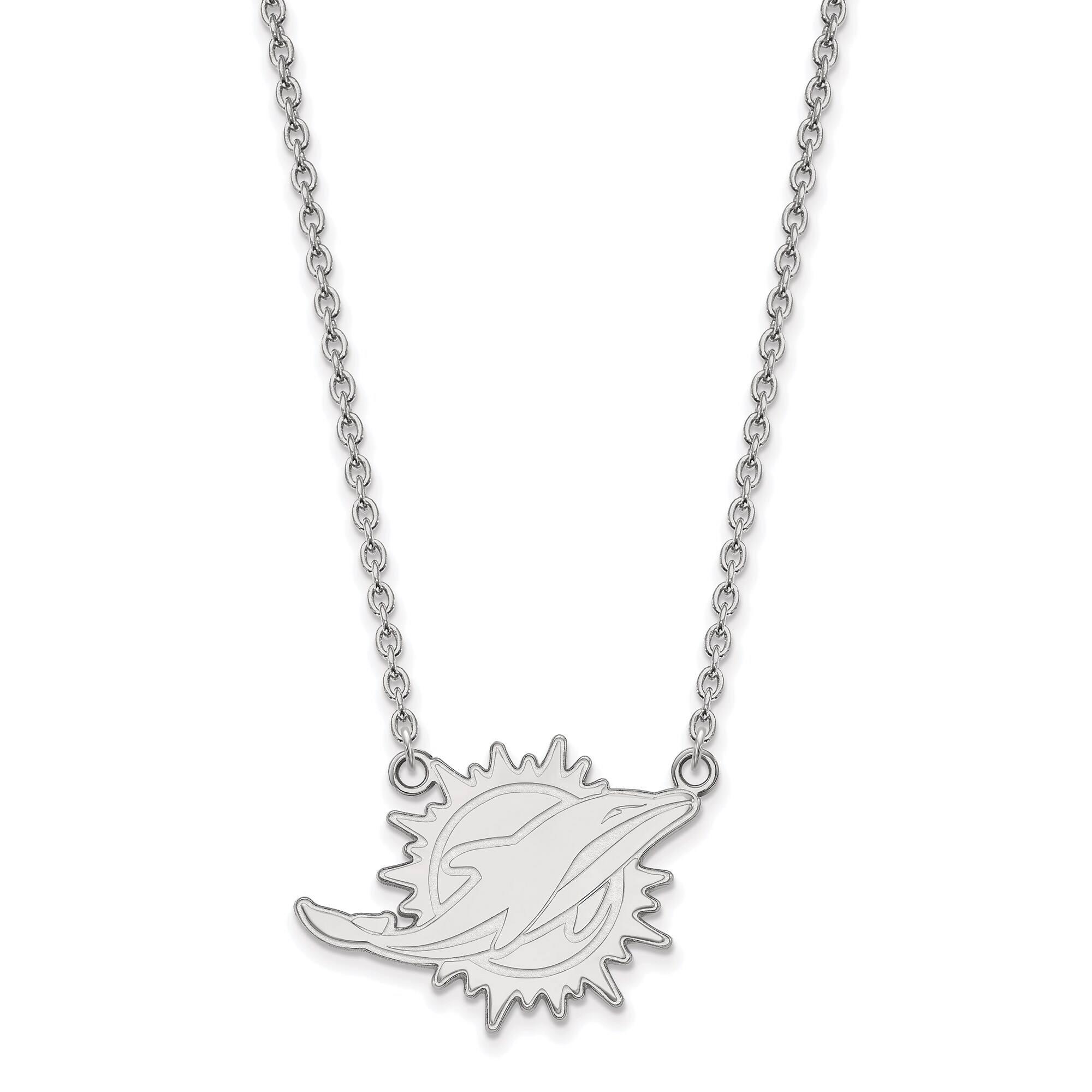 Miami Dolphins Sterling Silver Large Logo Split Chain Necklace