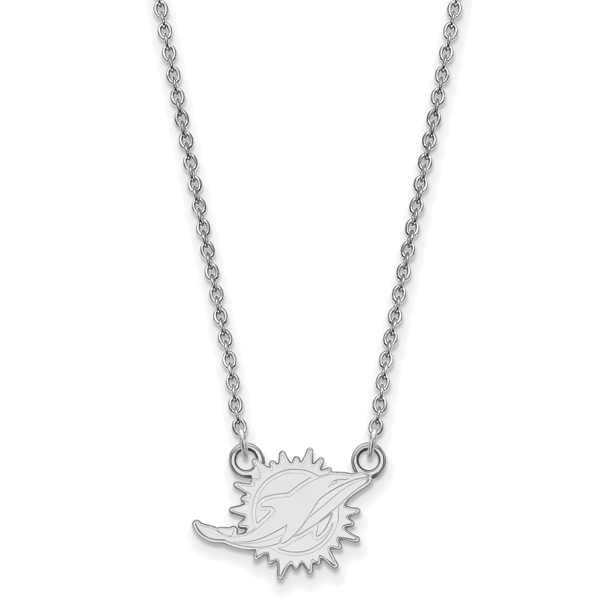 Miami Dolphins Sterling Silver Small Split Chain Necklace