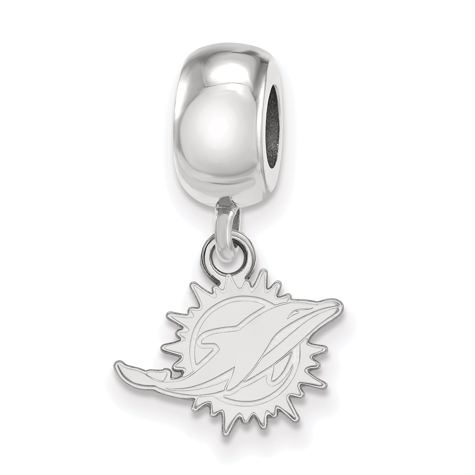 Miami Dolphins Sterling Silver Bead Dangle Charm