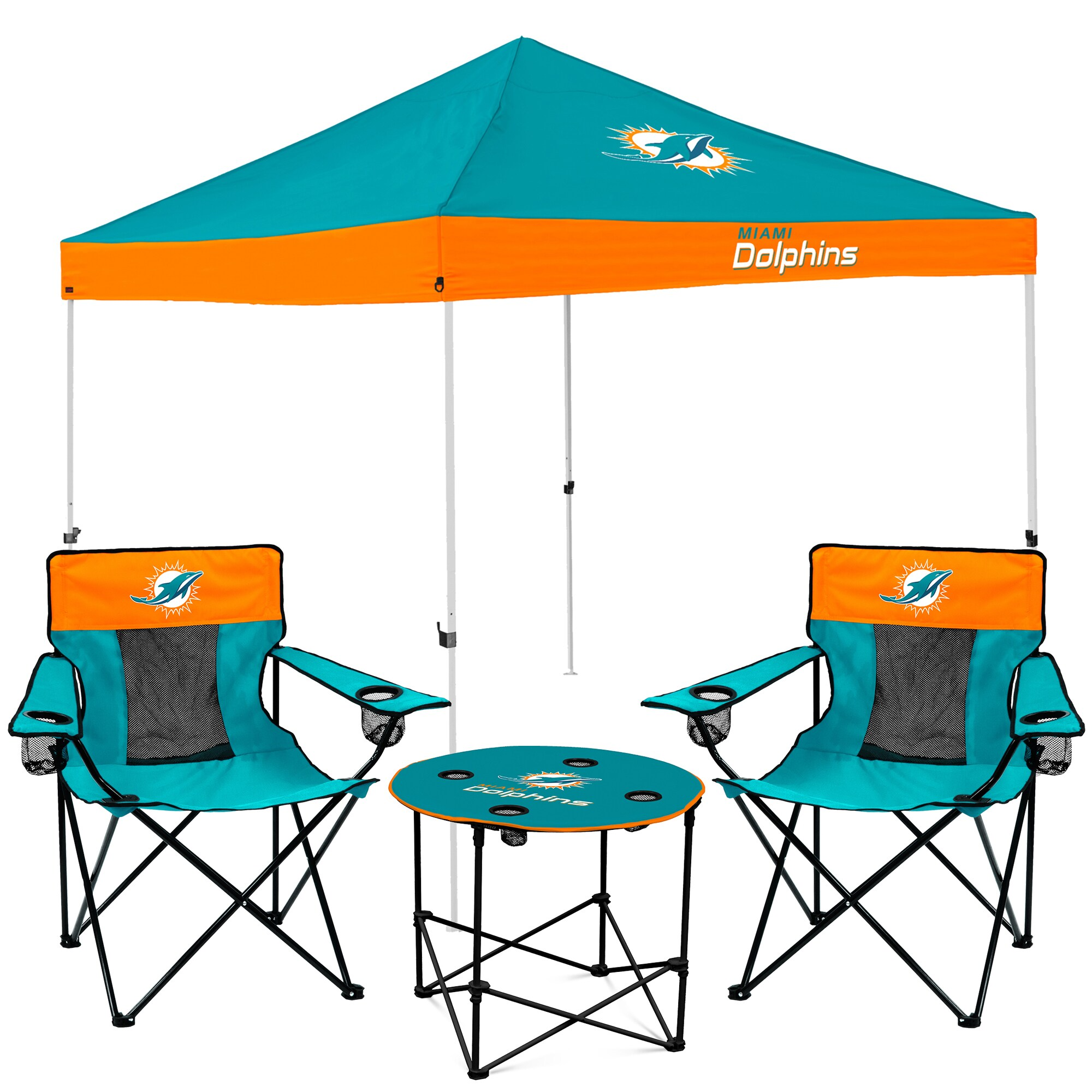 Miami Dolphins Tailgate Canopy Tent, Table, & Chairs Set