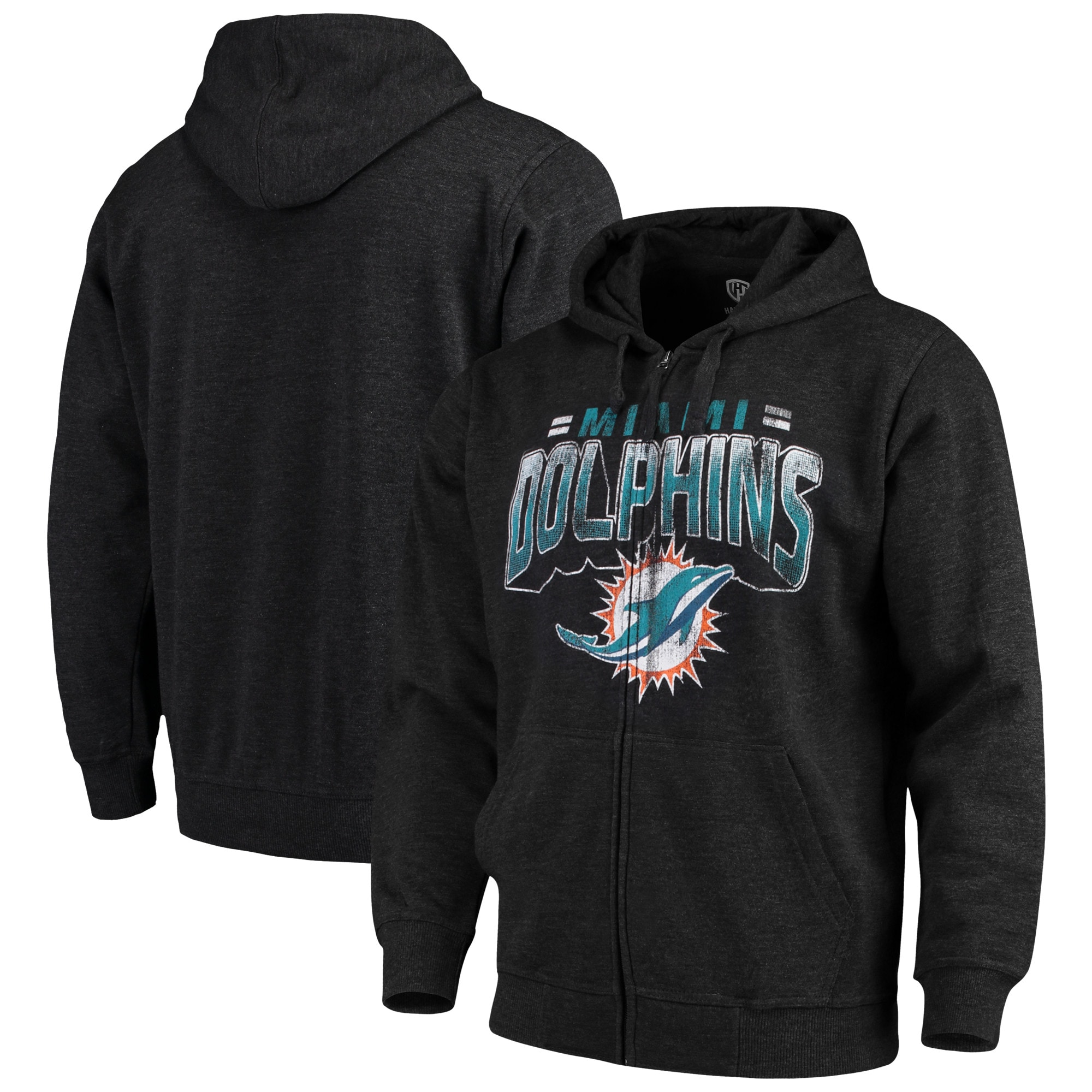Miami Dolphins G-III Sports by Carl Banks Perfect Season Full-Zip Hoodie - Charcoal