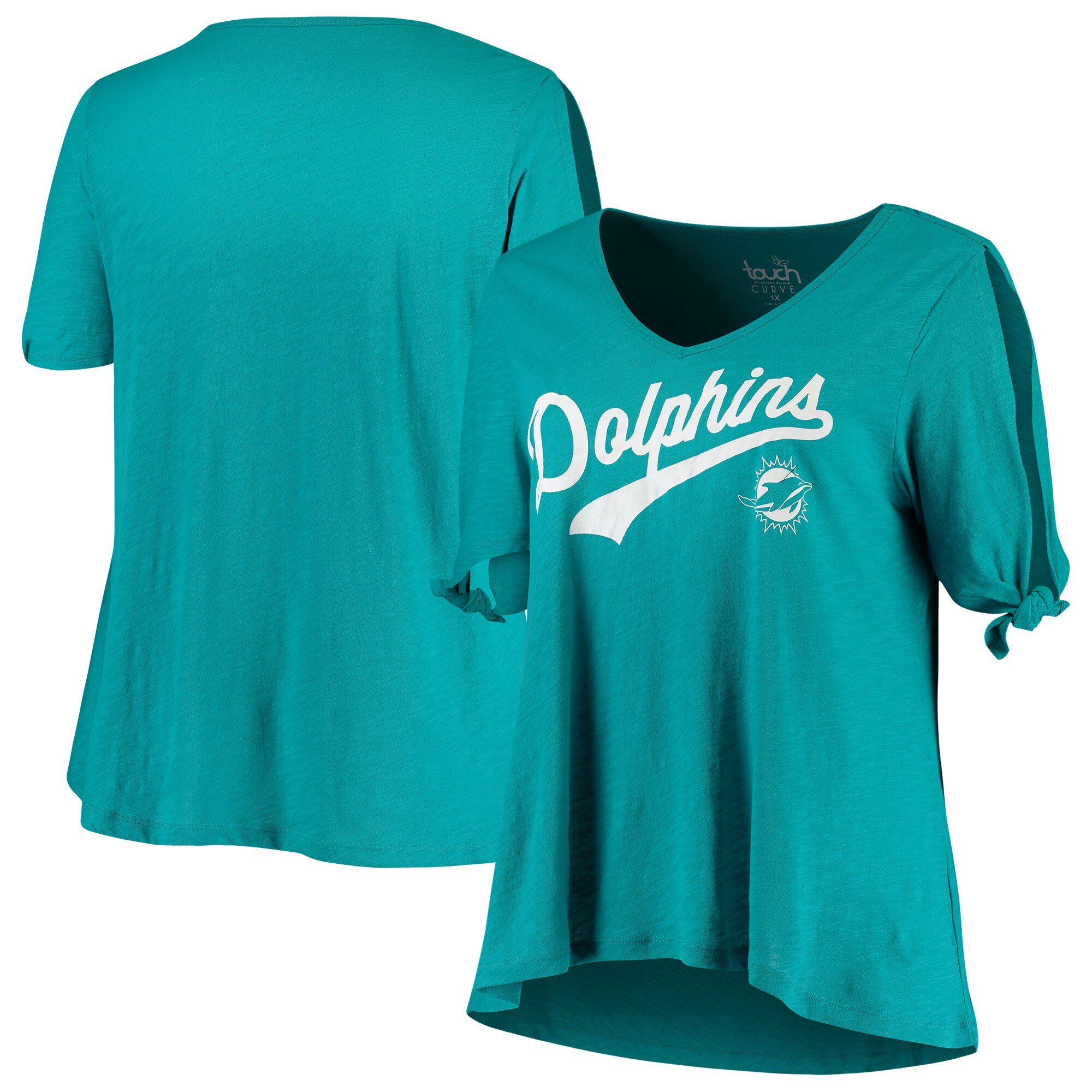 Miami Dolphins Touch by Alyssa Milano Women's Plus Size First String V-Neck T-Shirt - Aqua