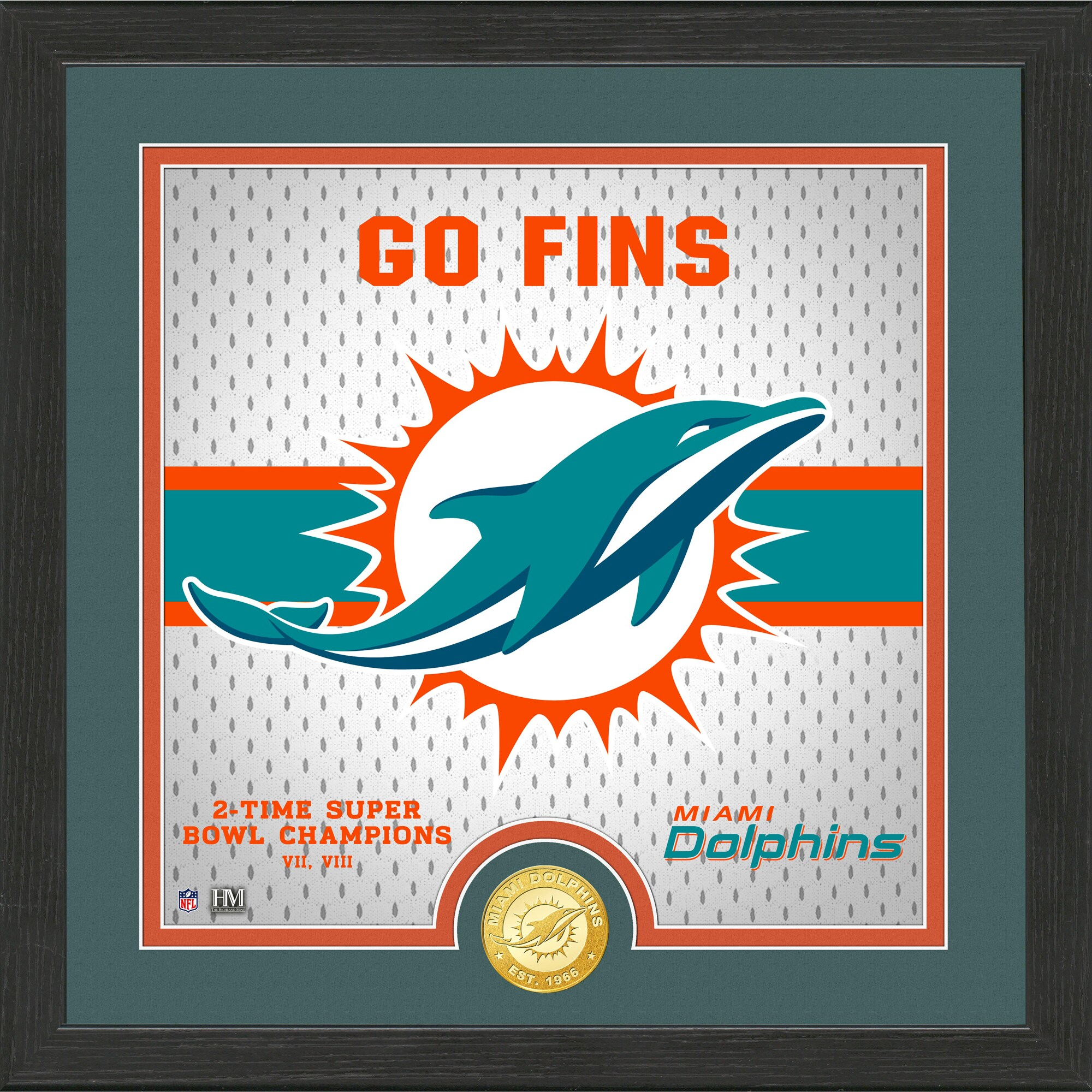 Miami Dolphins Highland Mint 13'' x 13'' Battle Cry Bronze Coin Photo Mint