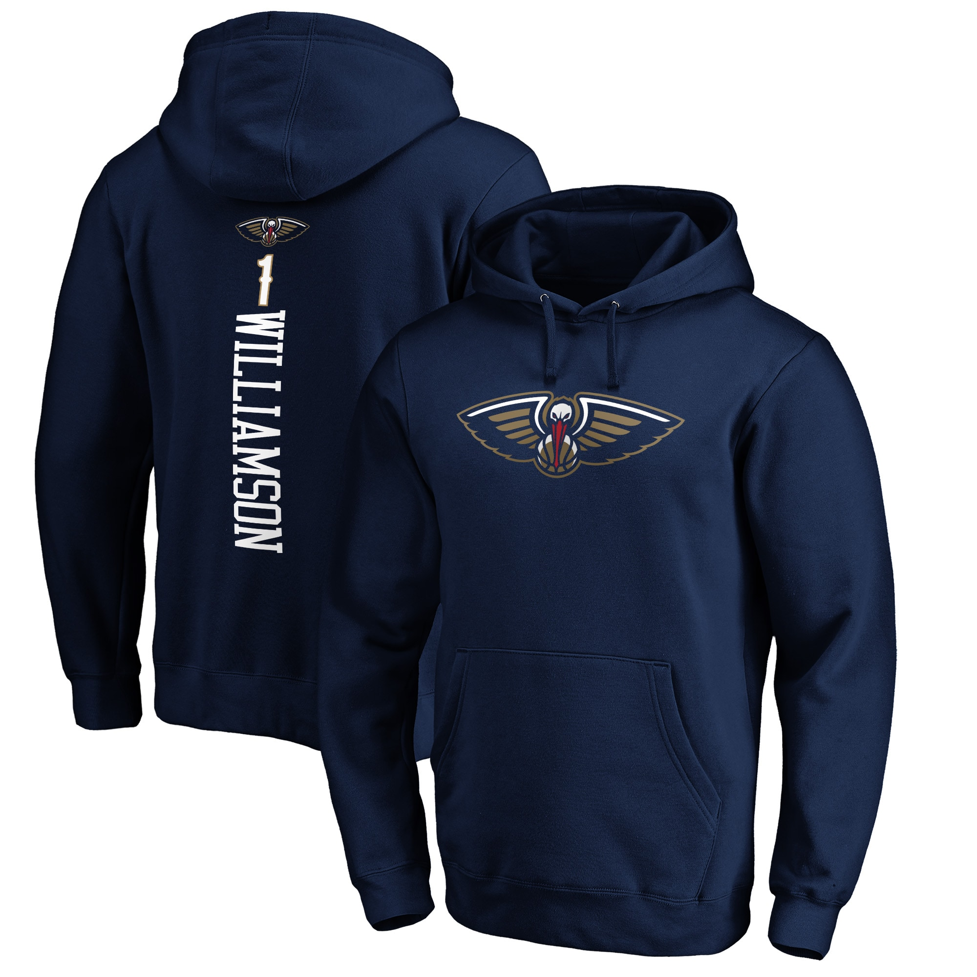 Zion Williamson New Orleans Pelicans Fanatics Branded Big & Tall Playmaker Name & Number Pullover Hoodie - Navy