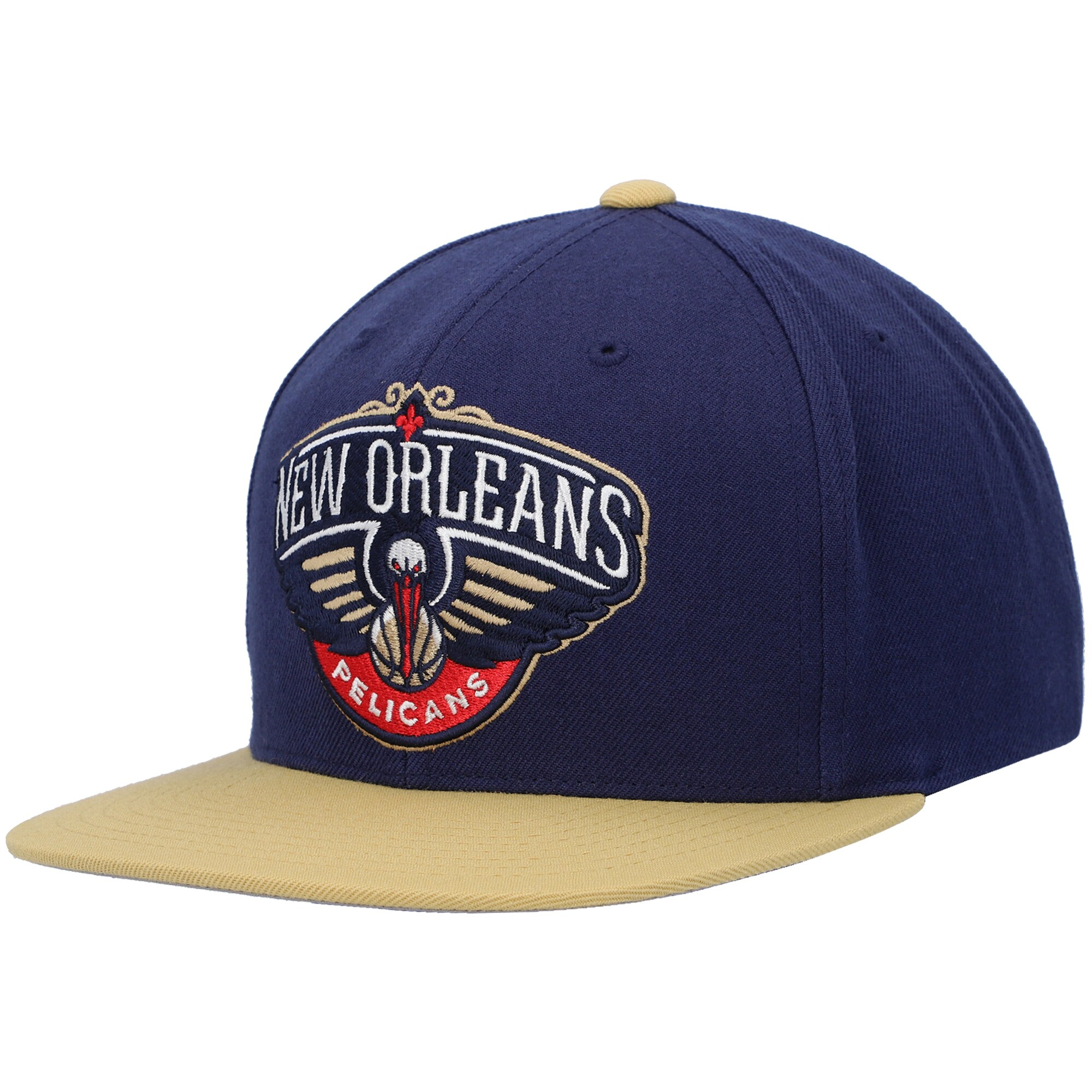 New Orleans Pelicans Mitchell & Ness Two-Tone Wool Snapback Hat - Navy/Gold