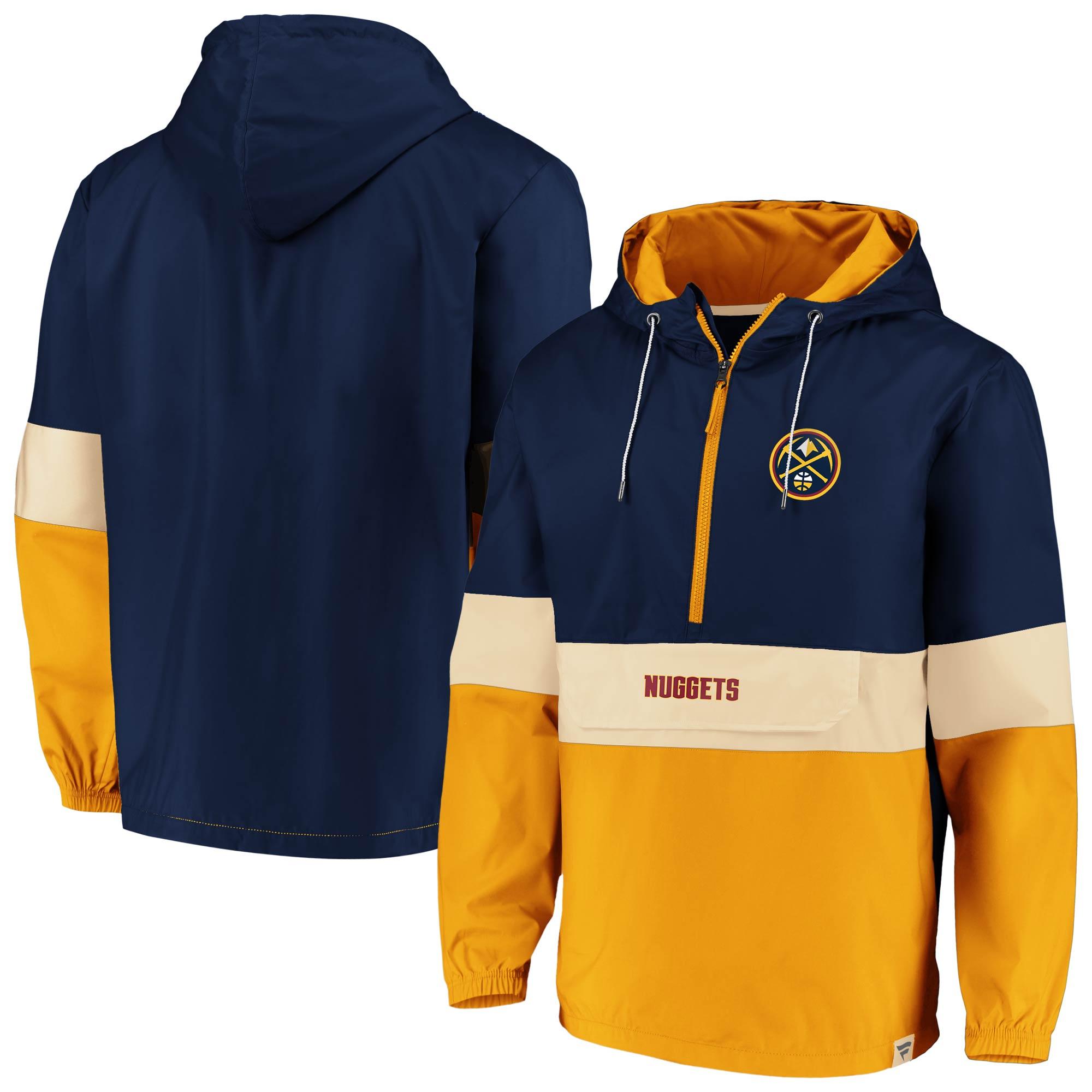 Denver Nuggets Fanatics Branded True Classics Lead Blocker Anorak Hoodie Half-Zip Windbreaker Jacket - Navy/Gold