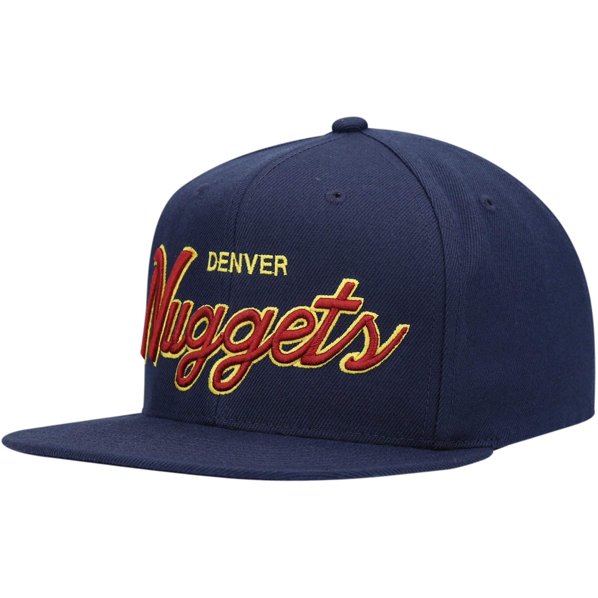 Denver Nuggets Mitchell & Ness Script Snapback Hat - Navy