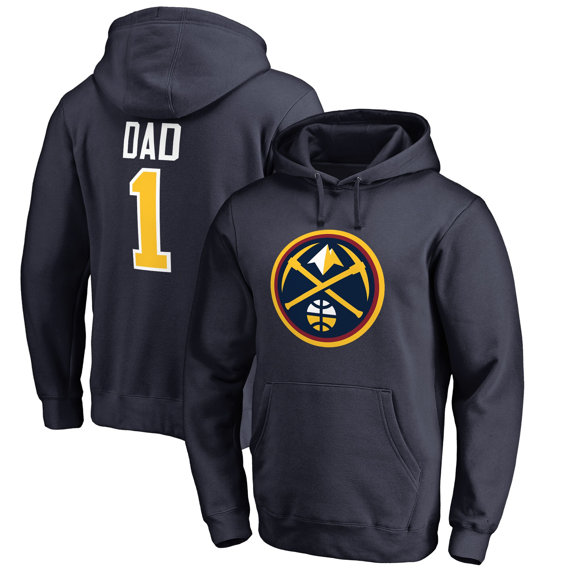 Denver Nuggets Fanatics Branded Big & Tall #1 Dad Pullover Hoodie - Navy