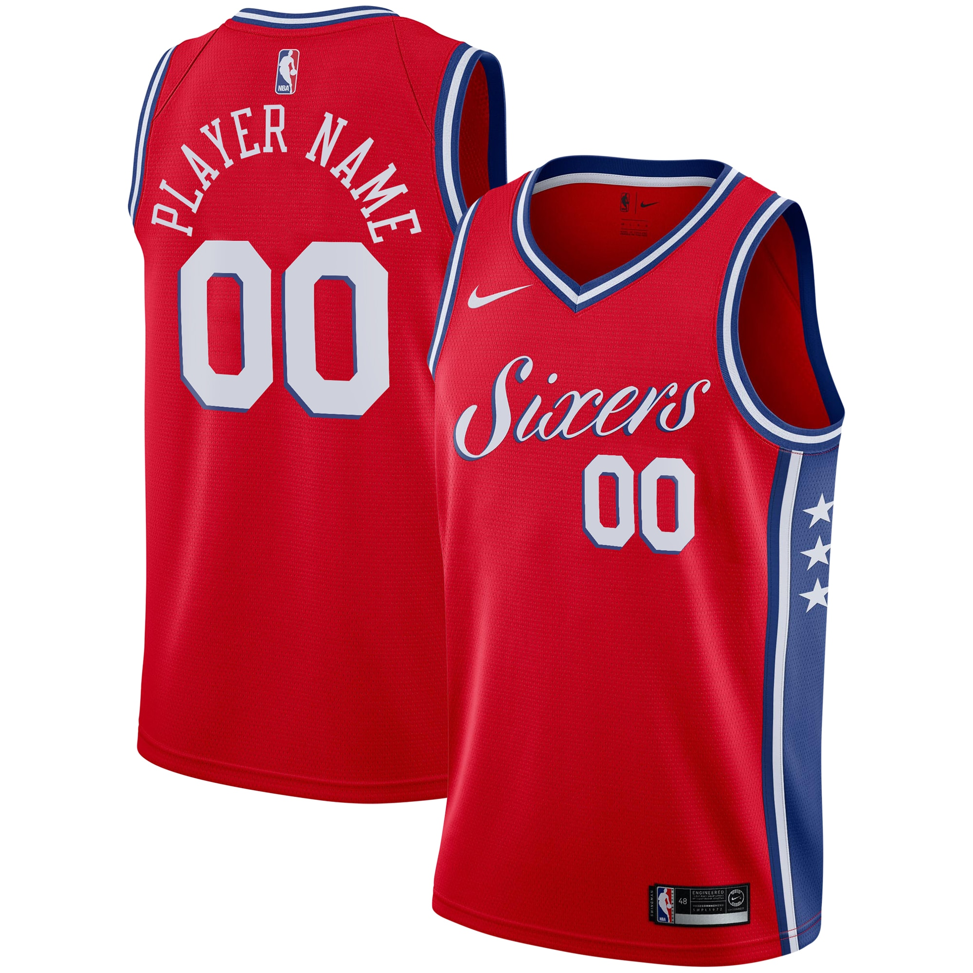 Philadelphia 76ers Nike Swingman Custom Jersey Red - Statement Edition