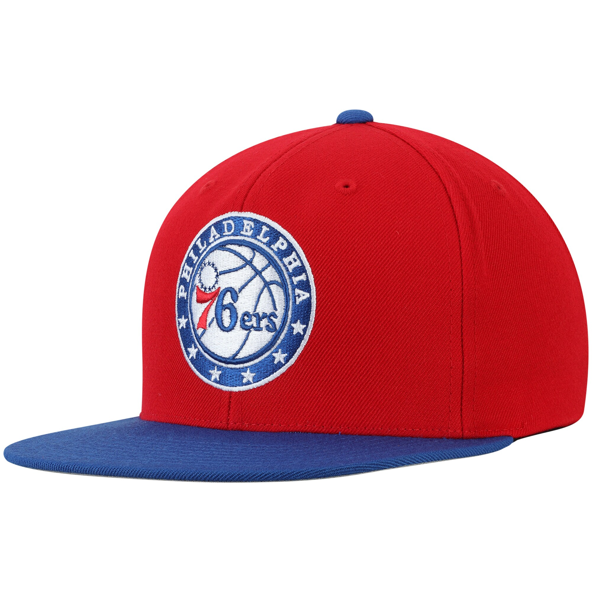 Philadelphia 76ers Mitchell & Ness Two-Tone Wool Snapback Hat - Red/Royal